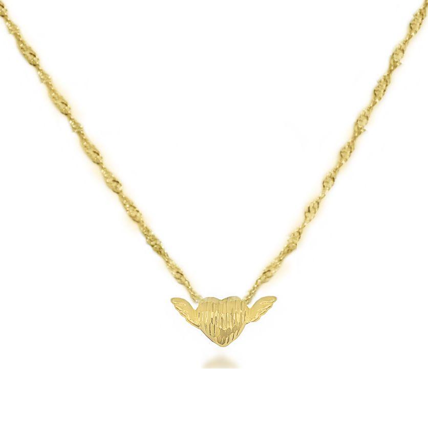 Colar Coração Com Asas Diamantado Folheado a Ouro 18k
