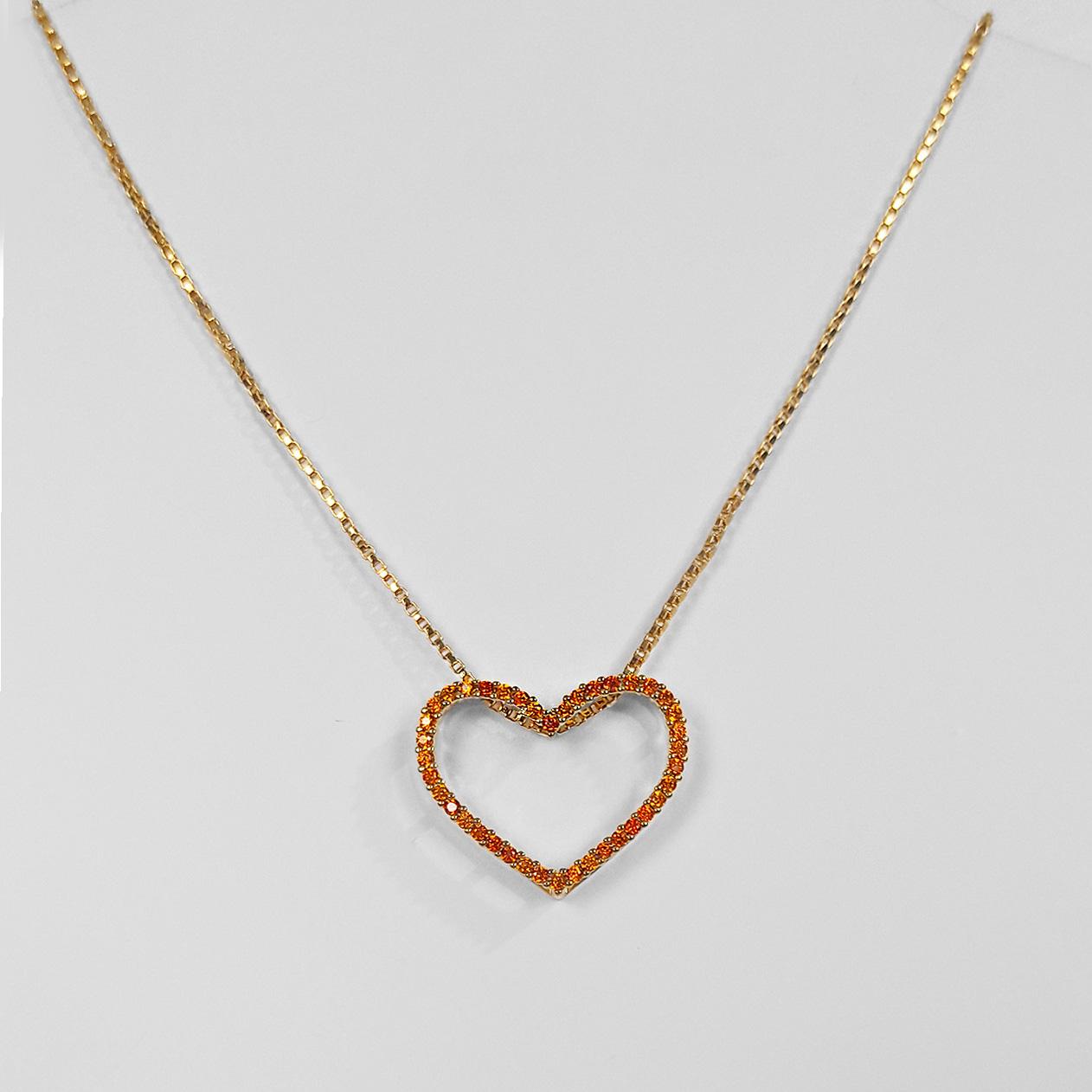 Gargantilha Coração Cravejado Vazado Folheado a Ouro 18k  - Lunozê Joias