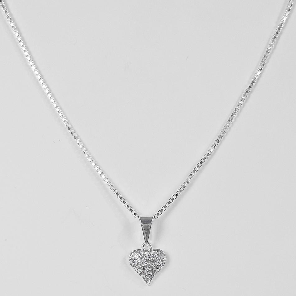 Gargantilha Coração Cravejado Zircônia Folheado a Prata 1000  - Lunozê Joias