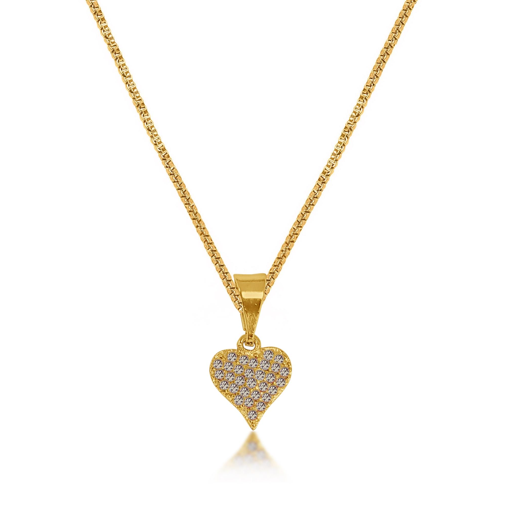 Gargantilha Coração Cravejado Zircônia Folheado Ouro18k  - Lunozê Joias