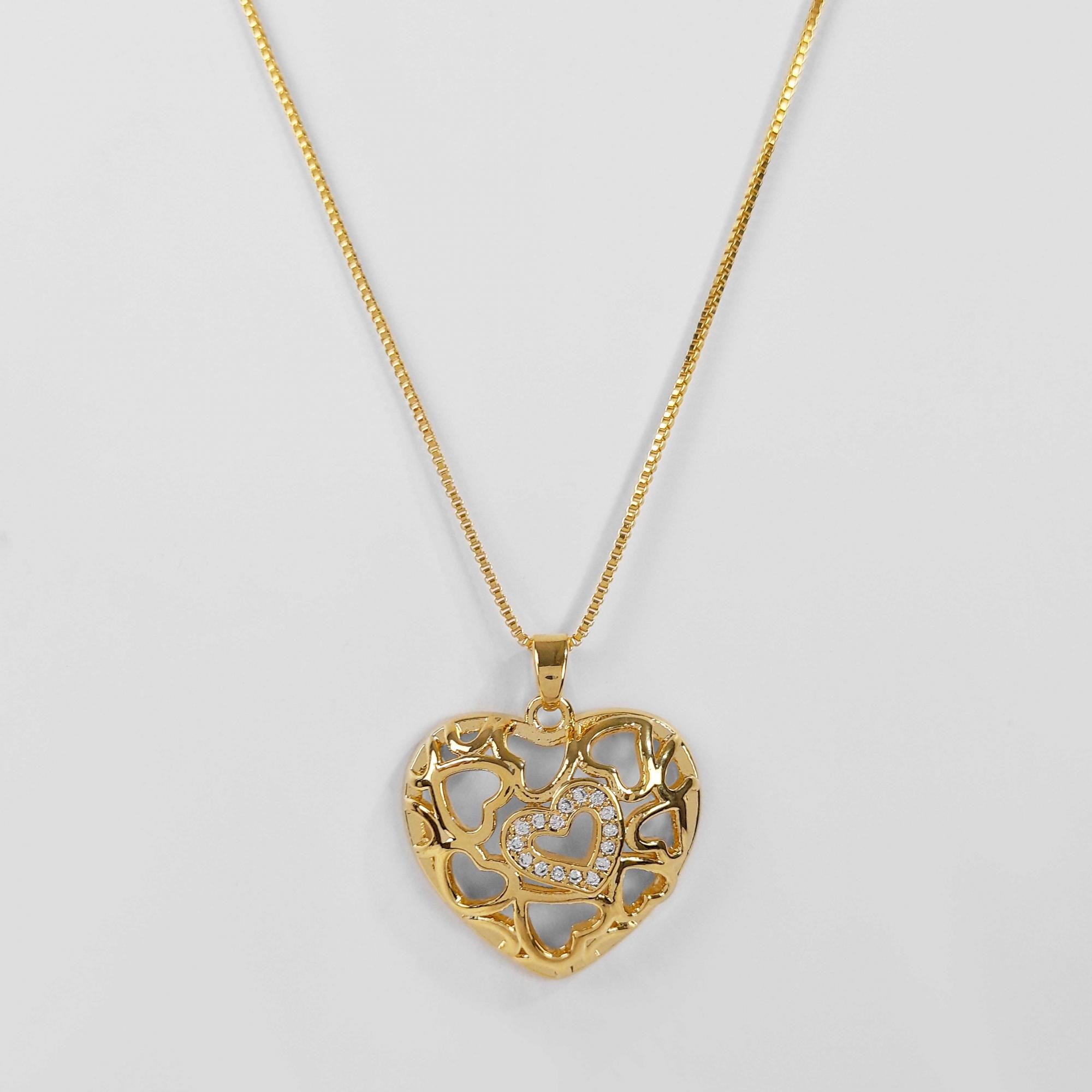 Gargantilha Coração Cravejado Zircônia Folheado Ouro 18K  - Lunozê Joias