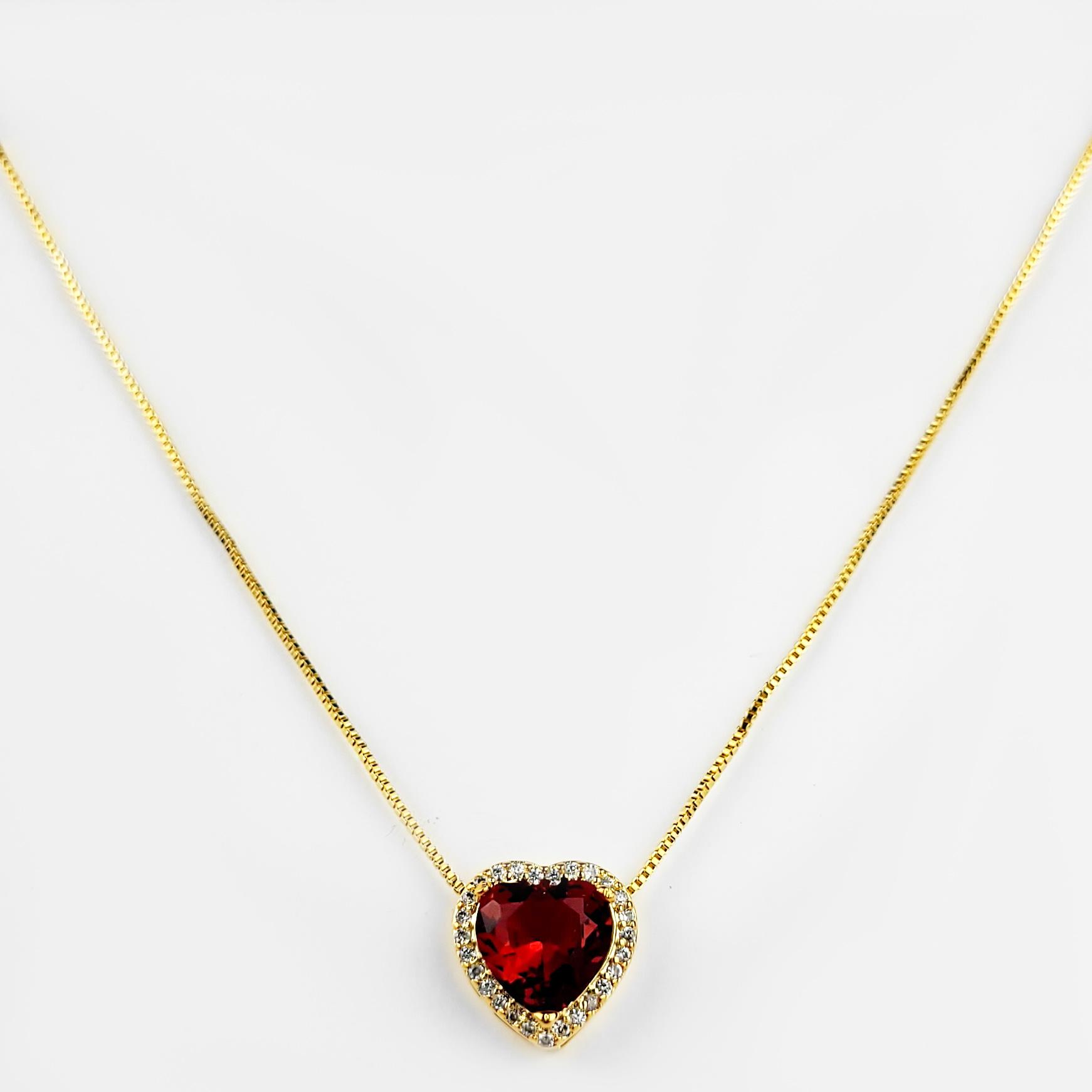 Gargantilha Coração Cravejado Zircônias Folheada Ouro 18K  - Lunozê Joias