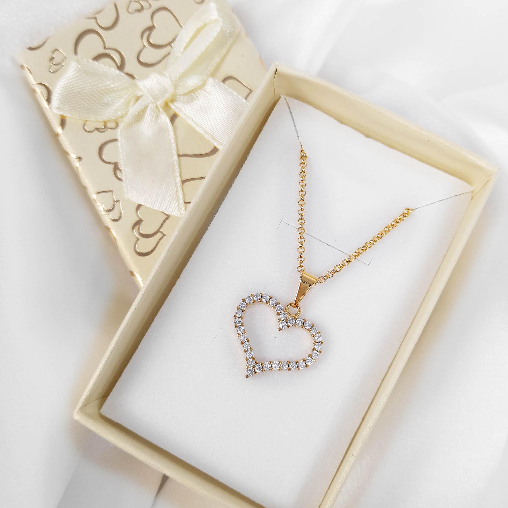Gargantilha Coração Cravejado Zircônias Folheada Ouro + Caixa  - Lunozê Joias
