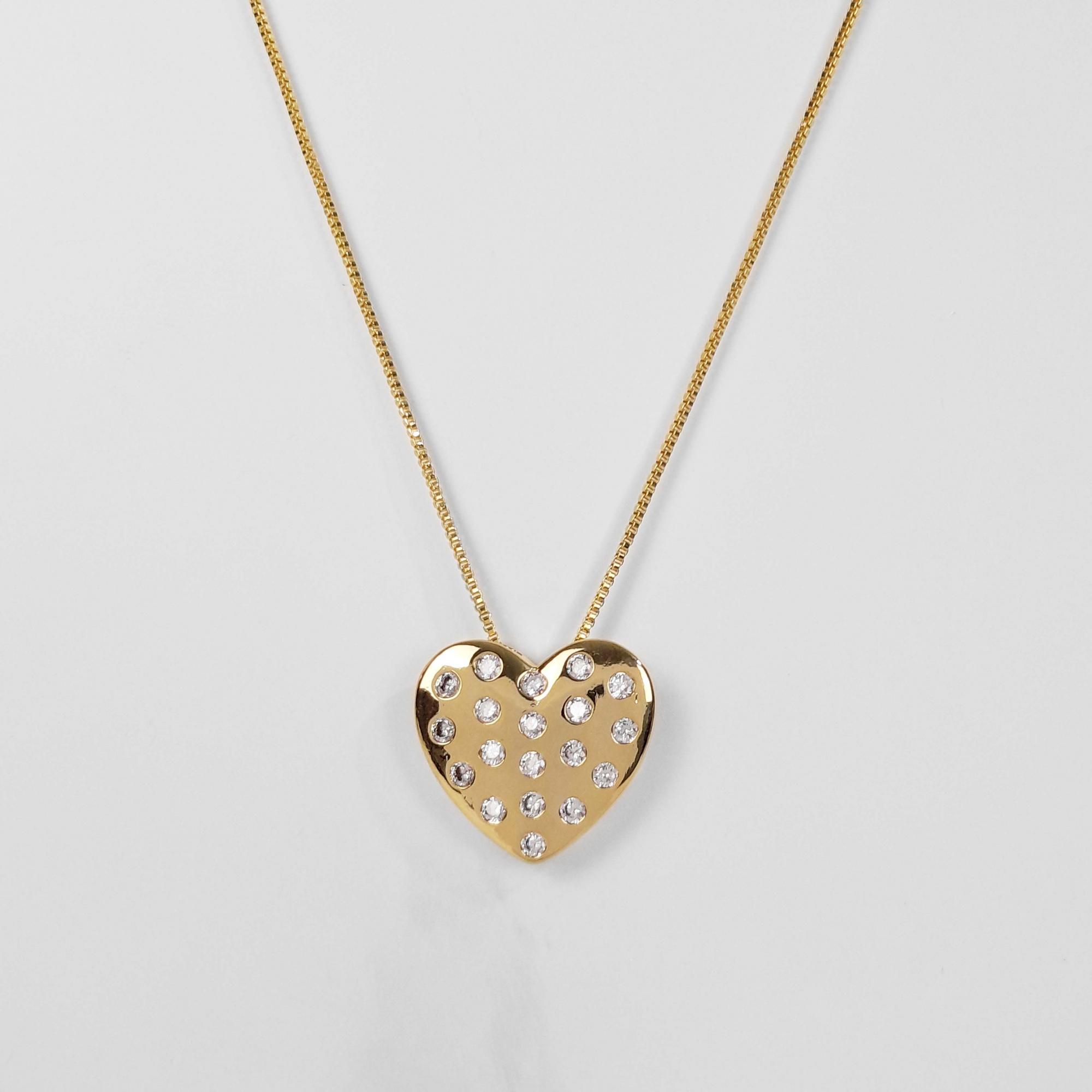 Gargantilha Coração Cravejado Zircônias Folheado Ouro 18K  - Lunozê Joias