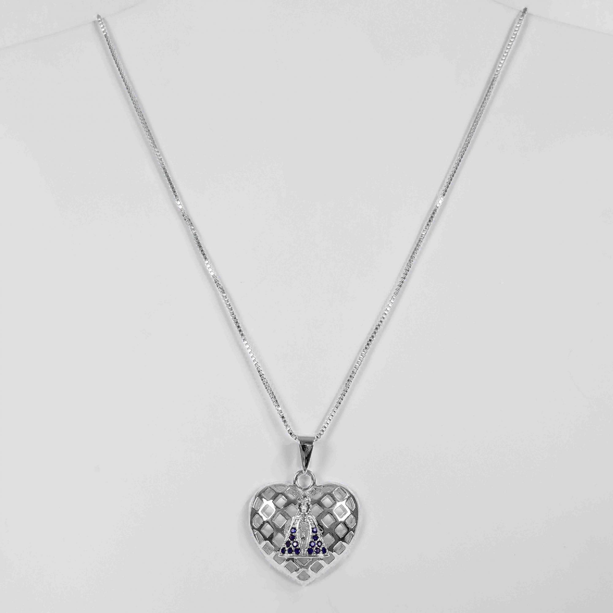 Gargantilha Coração Nossa Senhora Aparecida Folheada Prata 1000  - Lunozê Joias