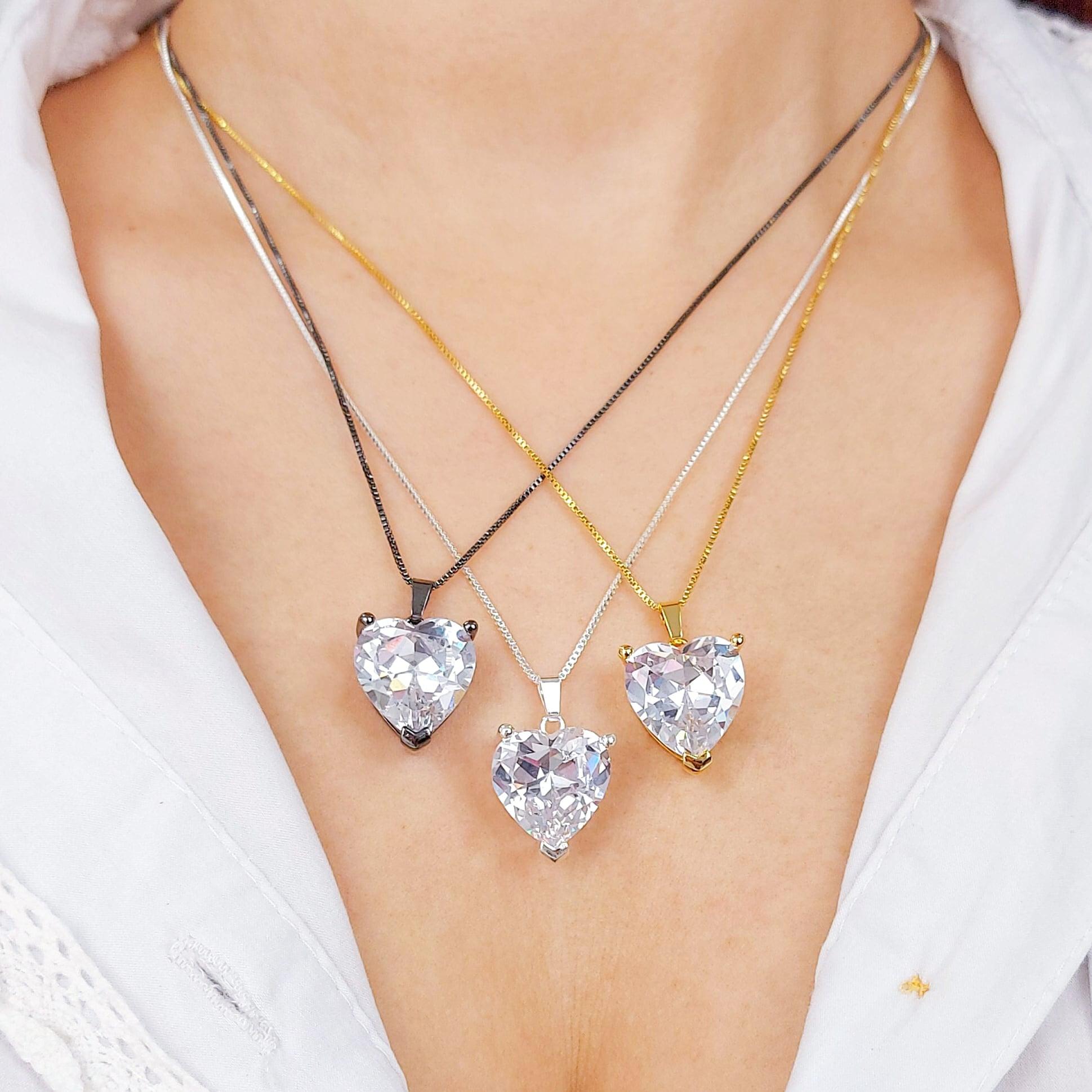 Gargantilha Coração Pedra de Zircônia Folheado a Prata 1000