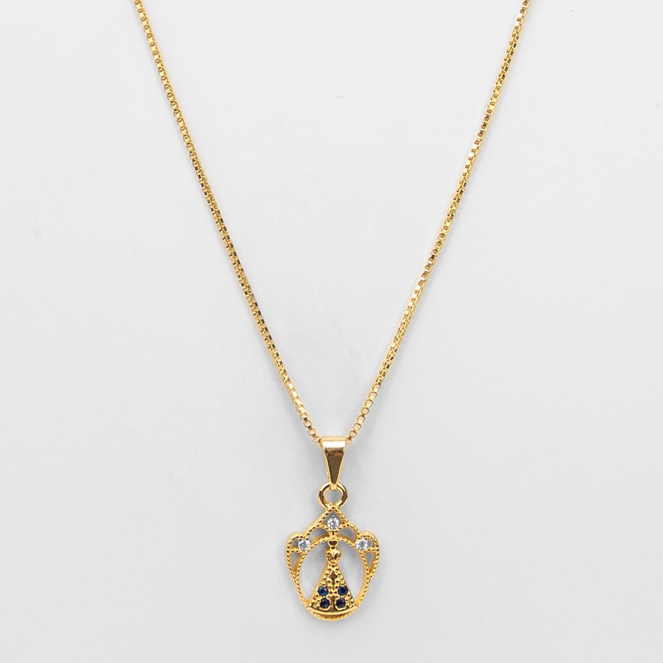 Gargantilha Coroa Nossa Senhora Aparecida Folheada Ouro 18K  - Lunozê Joias