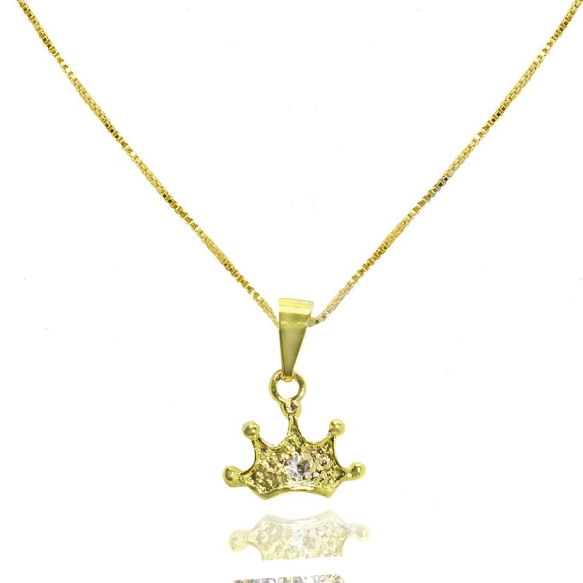Gargantilha Coroa de Rainha Folheado Ouro 18k