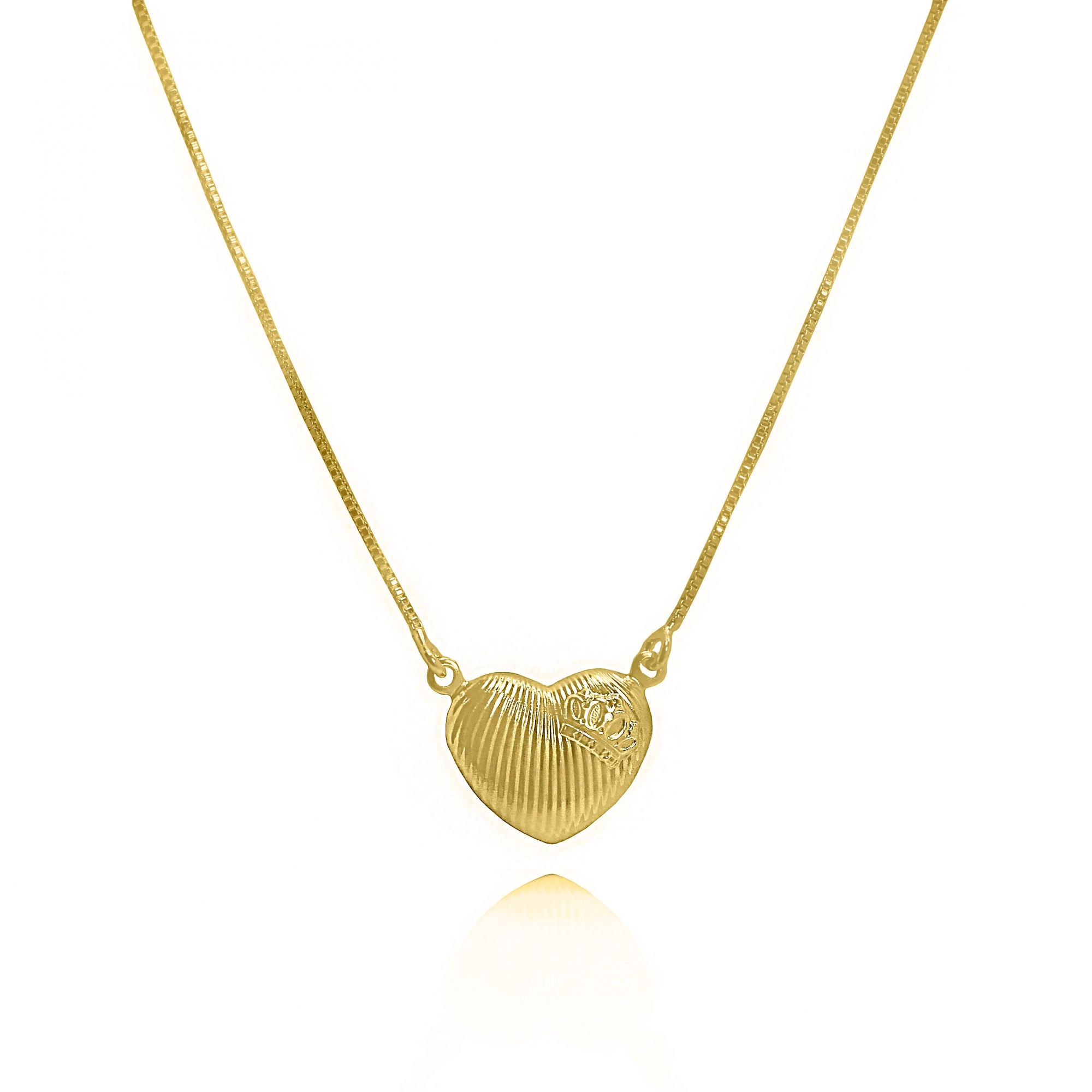 Gargantilha Coroa e Coração Folheado Ouro 18k
