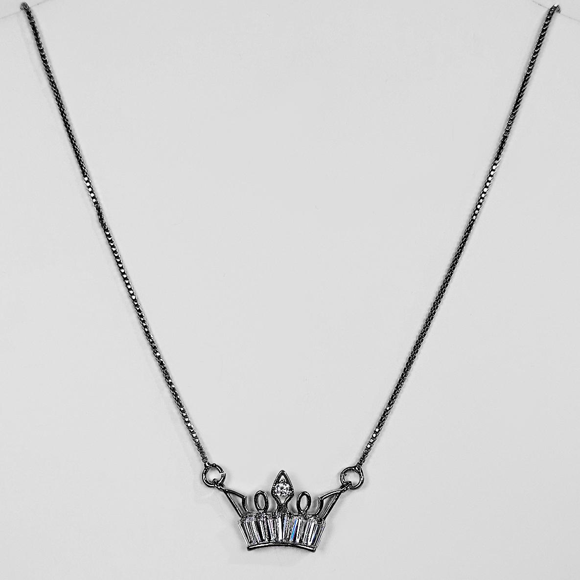Gargantilha Coroa em Zircônias Banho Ródio Negro  - Lunozê Joias