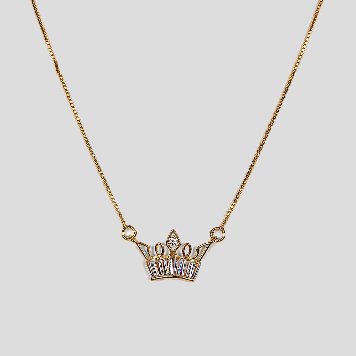 Gargantilha Coroa em Zircônias Folheada a Ouro 18k  - Lunozê Joias