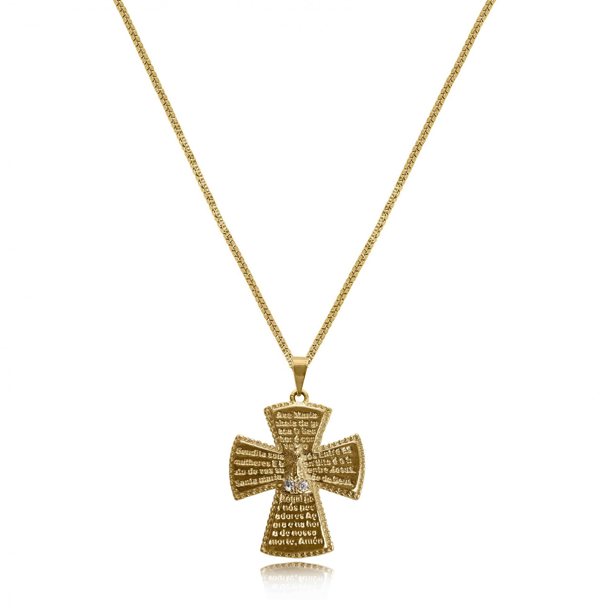 Gargantilha Cruz Nossa Senhora Aparecida Zircônias Folheado Ouro 18k