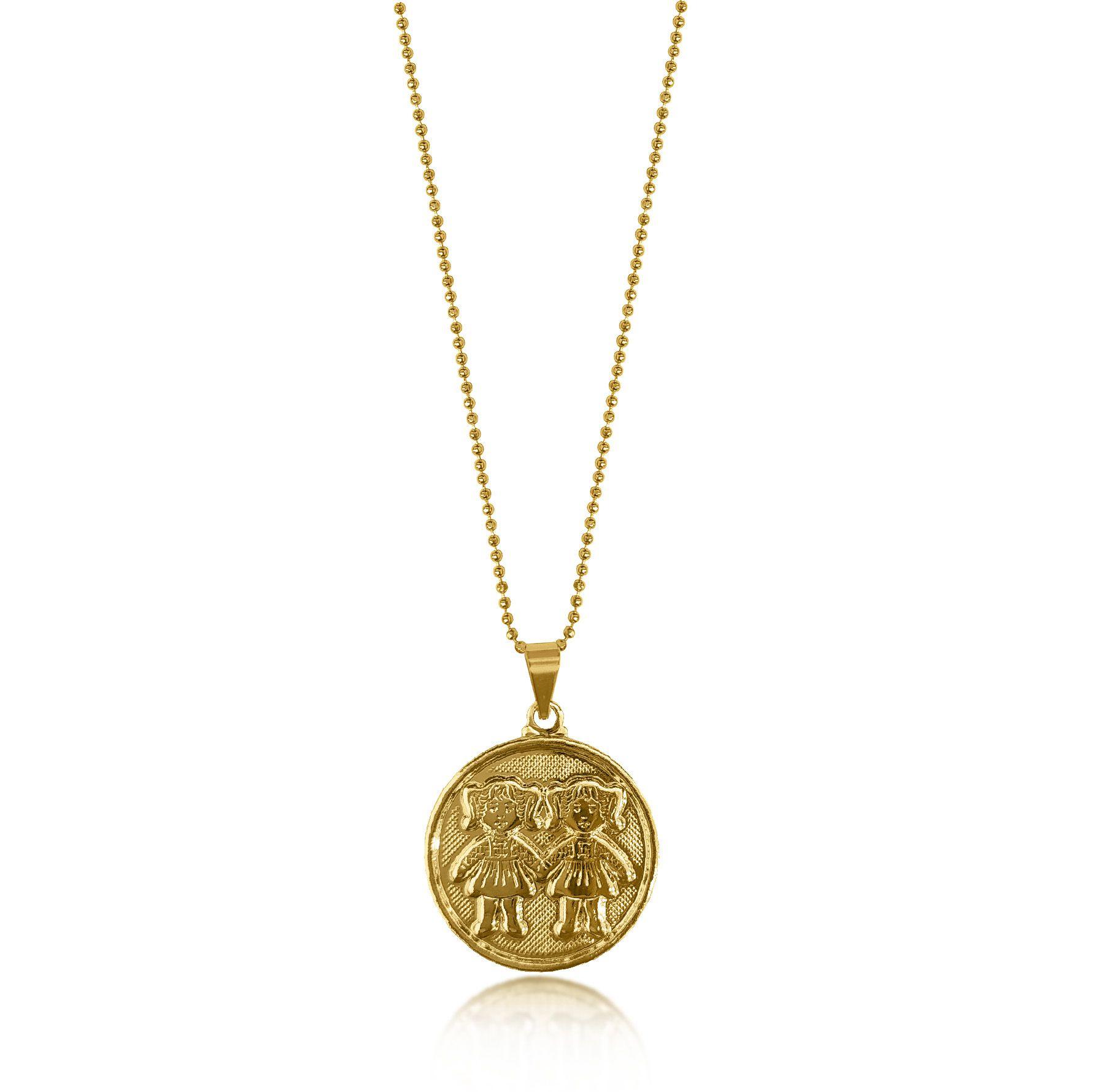 Gargantilha de Medalha 2 Meninas Folheado a Ouro 18k  - Lunozê Joias