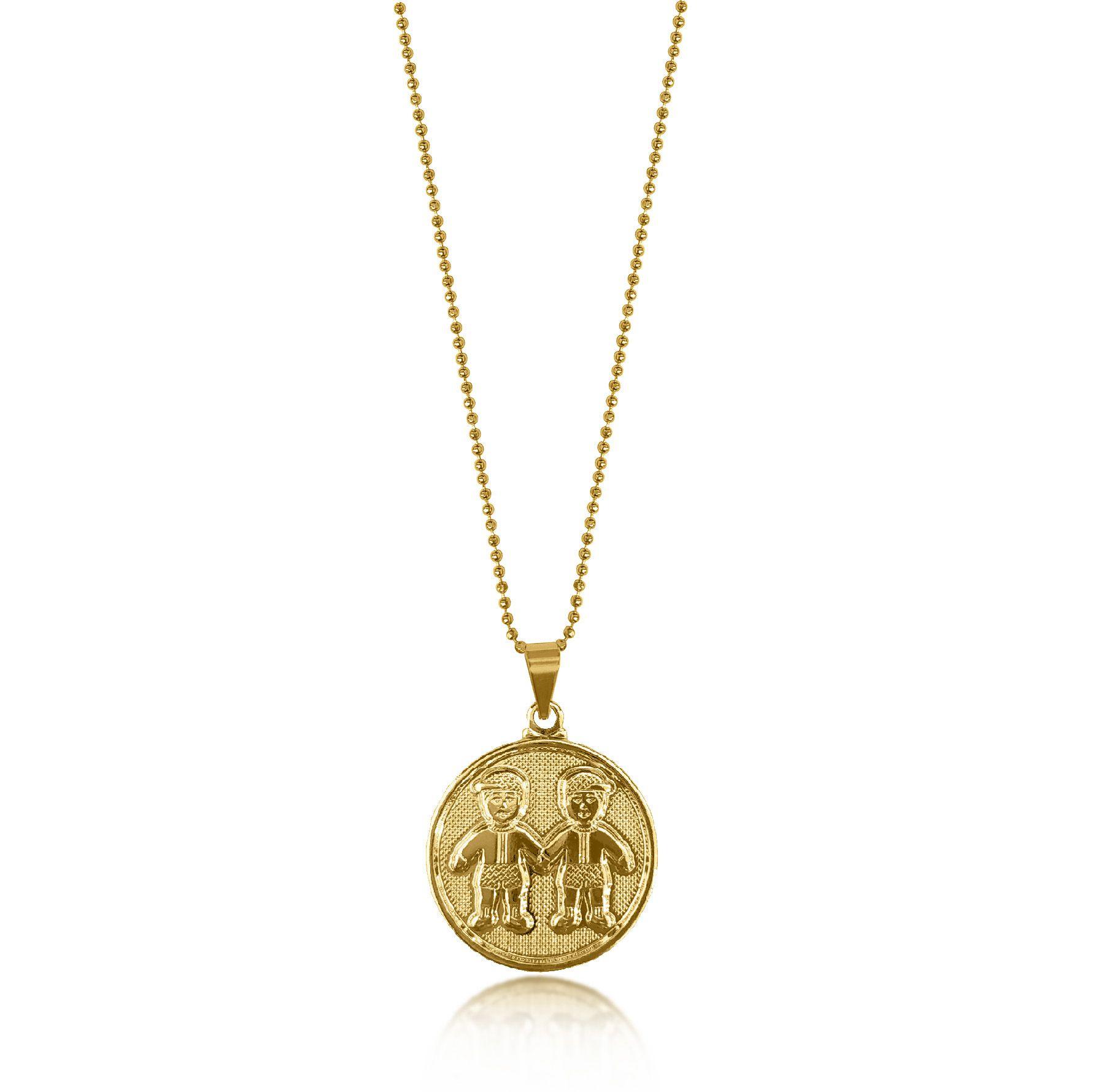 Gargantilha de Medalha 2 Meninos Folheado a Ouro 18k  - Lunozê Joias