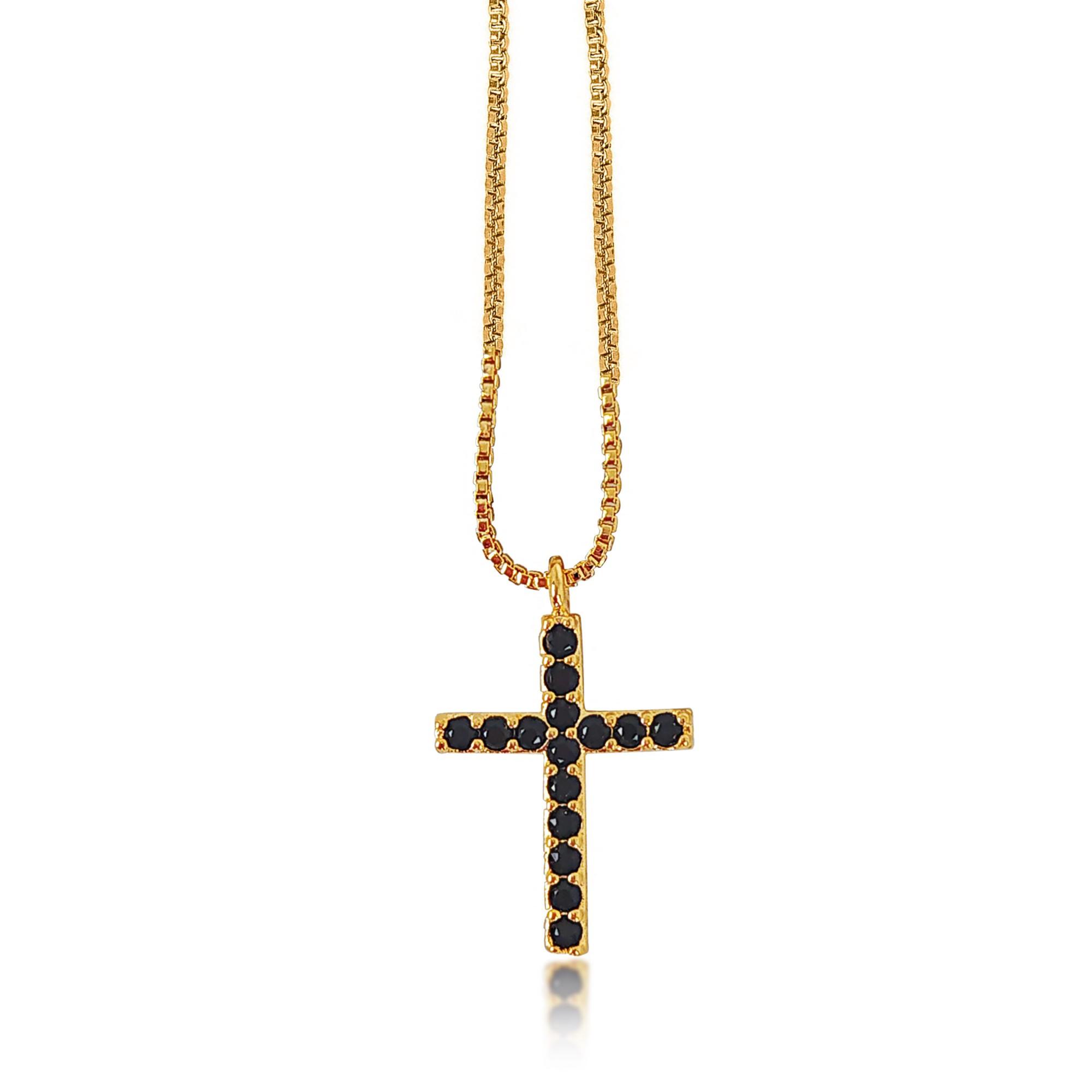 Gargantilha Delicada Cruz Pequena Folheado a Ouro 18k  - Lunozê Joias