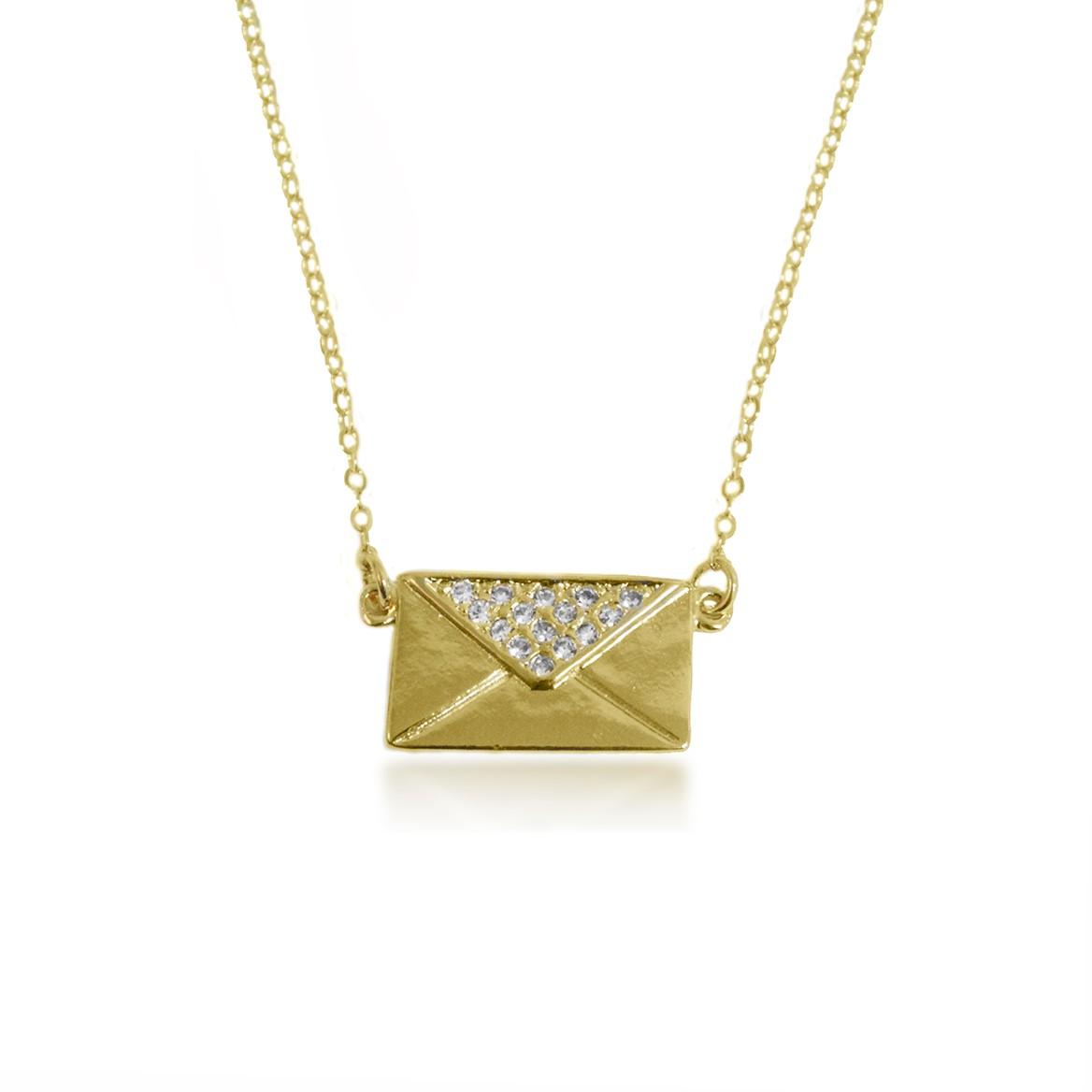 Gargantilha Envelope Cravejado de Micro Zircônia Folheado a Ouro 18k