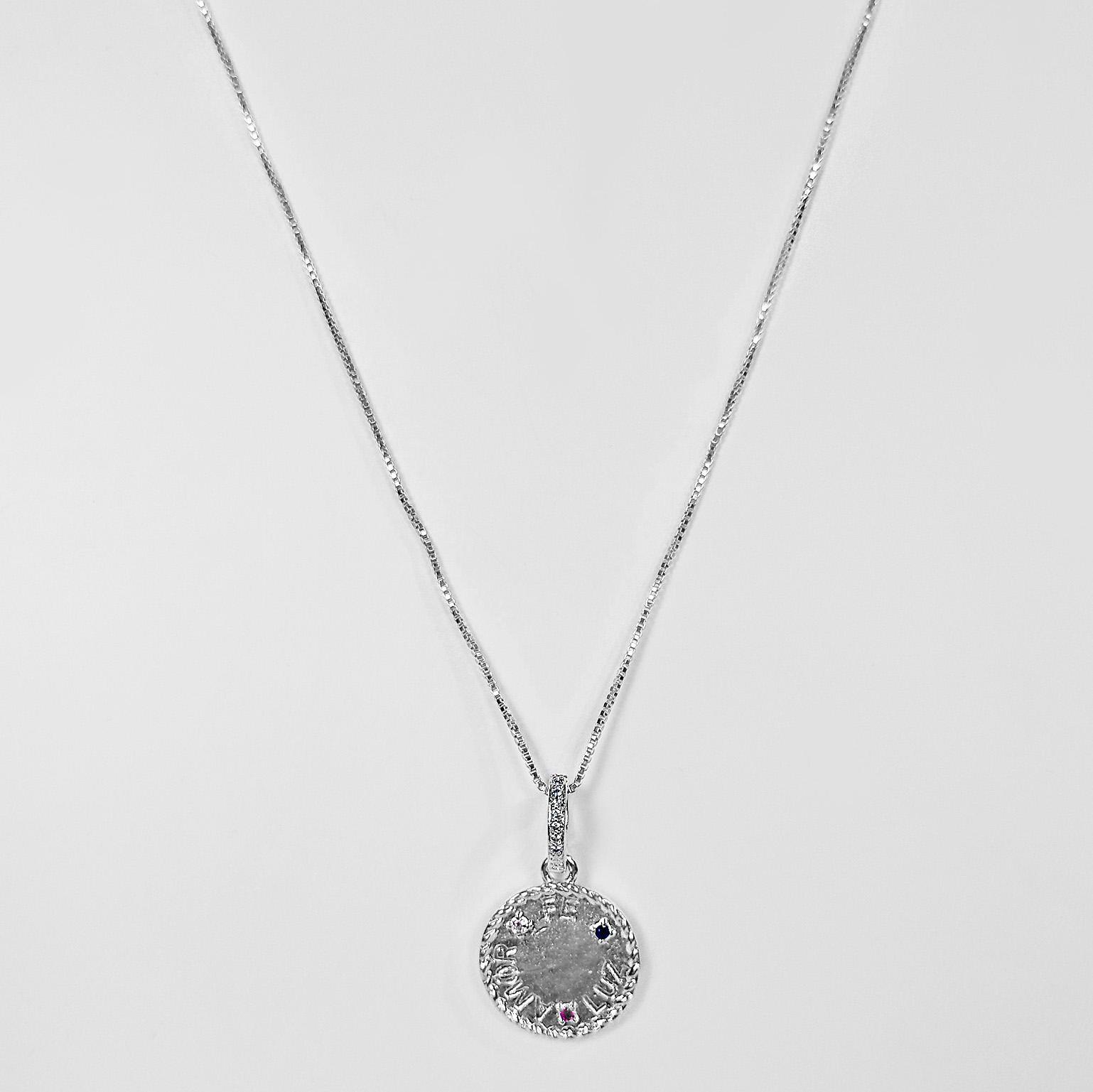 Gargantilha Mandala Fé Amor e Luz Folheado a Prata 1000  - Lunozê Joias