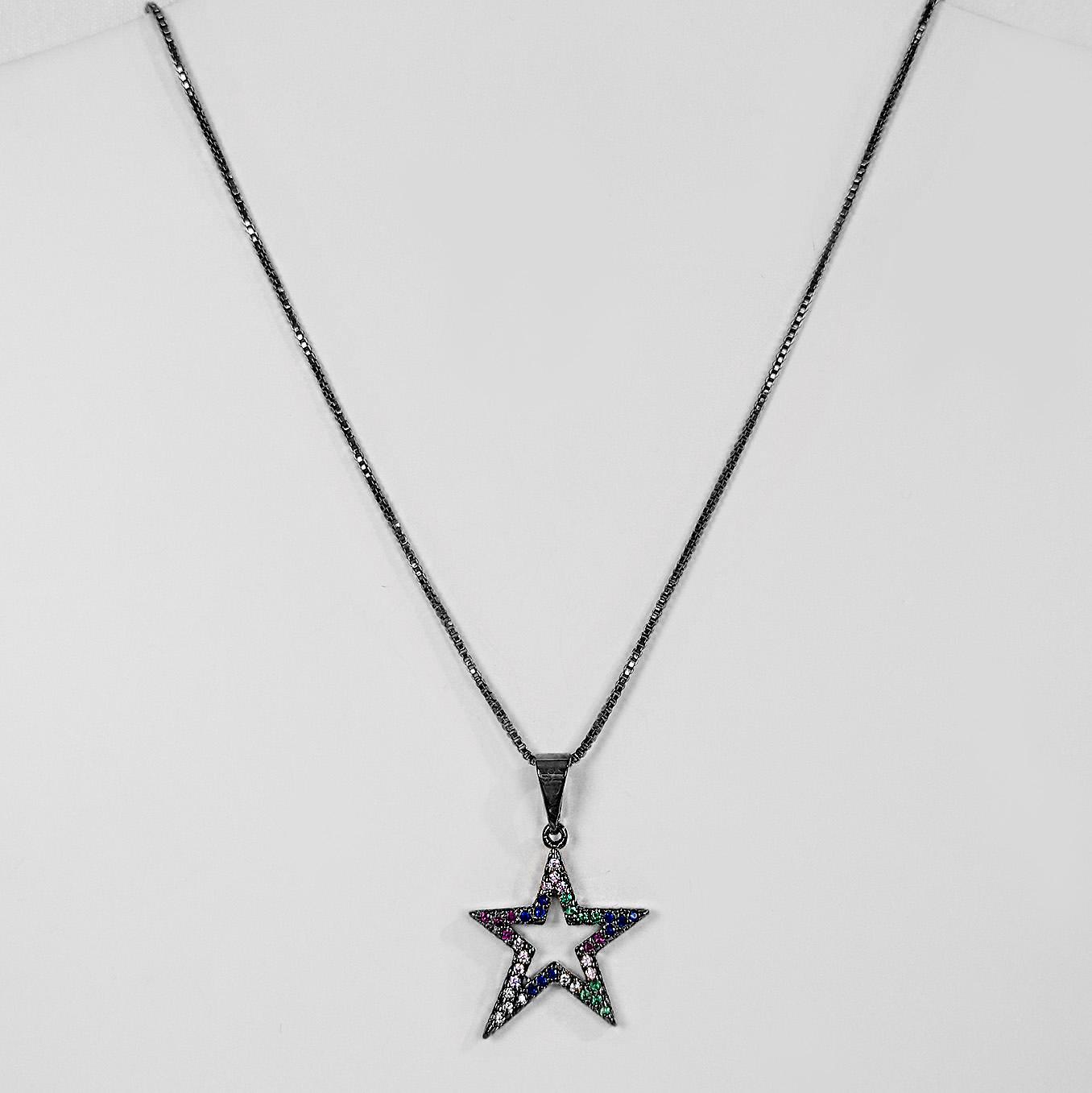 Gargantilha Estrela Colorida Cravejada Banho Ródio Negro  - Lunozê Joias