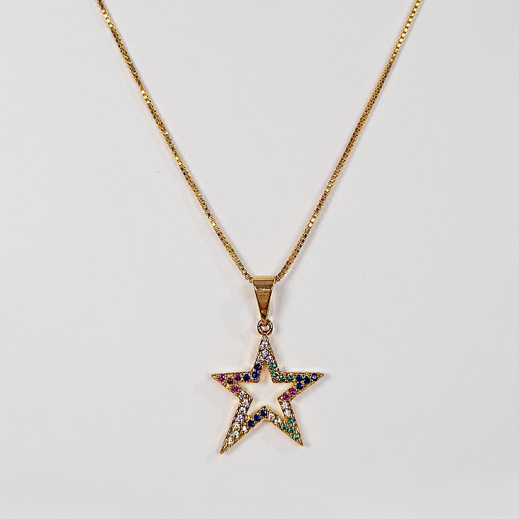 Gargantilha Estrela Colorida Cravejada Folheada a Ouro 18k  - Lunozê Joias