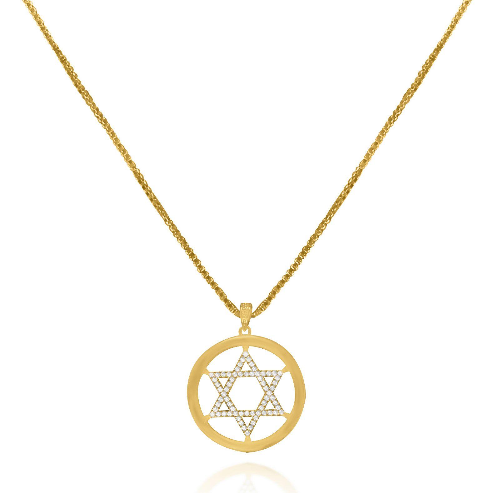 Gargantilha Estrela Davi Micro Zircônias Folheado Ouro 18k