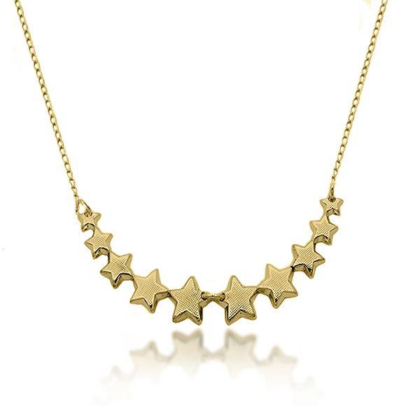 Gargantilha Estrelas Texturizadas Folheado a Ouro 18k