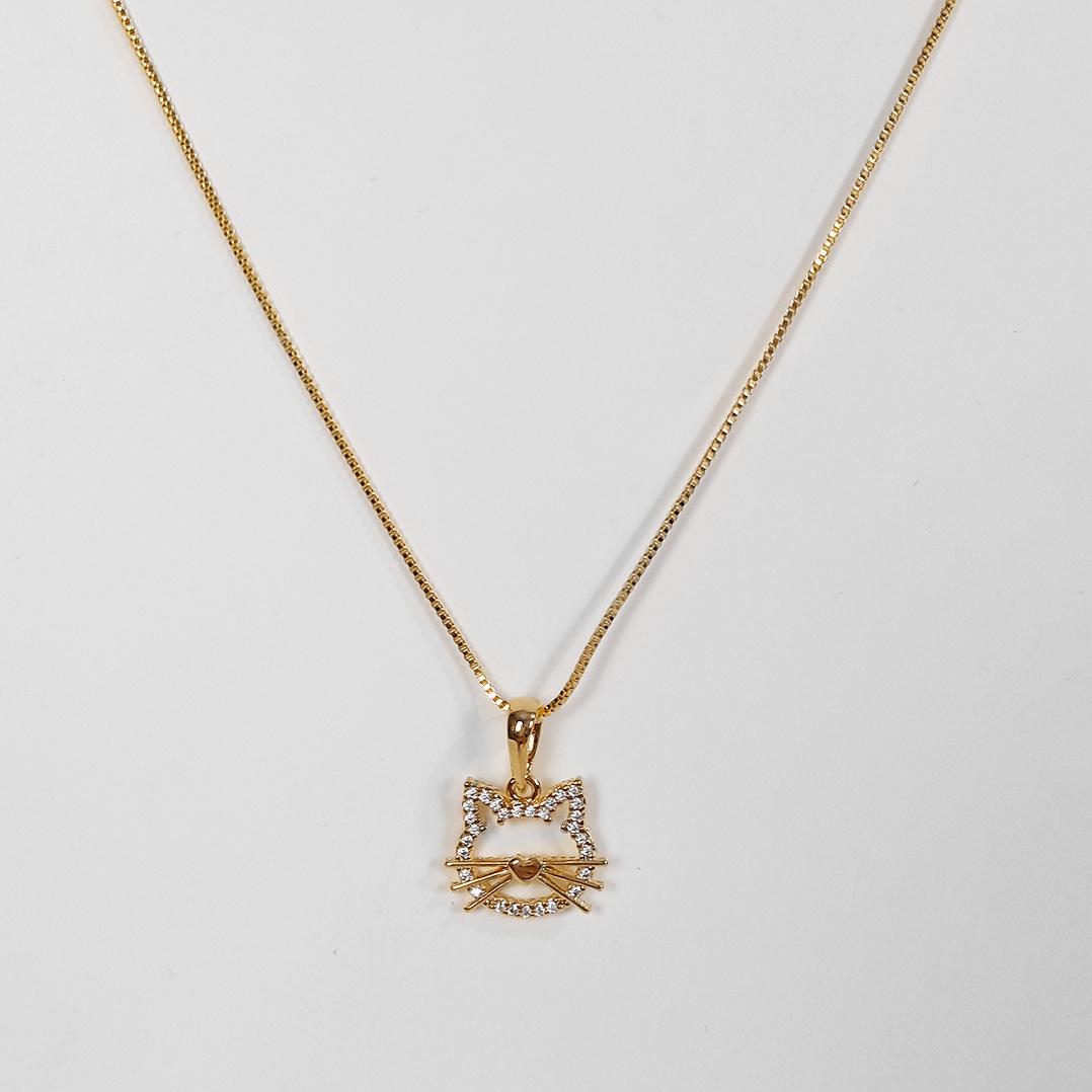 Gargantilha Gato Vazado Cravejado Zircônia Folheado Ouro 18K  - Lunozê Joias