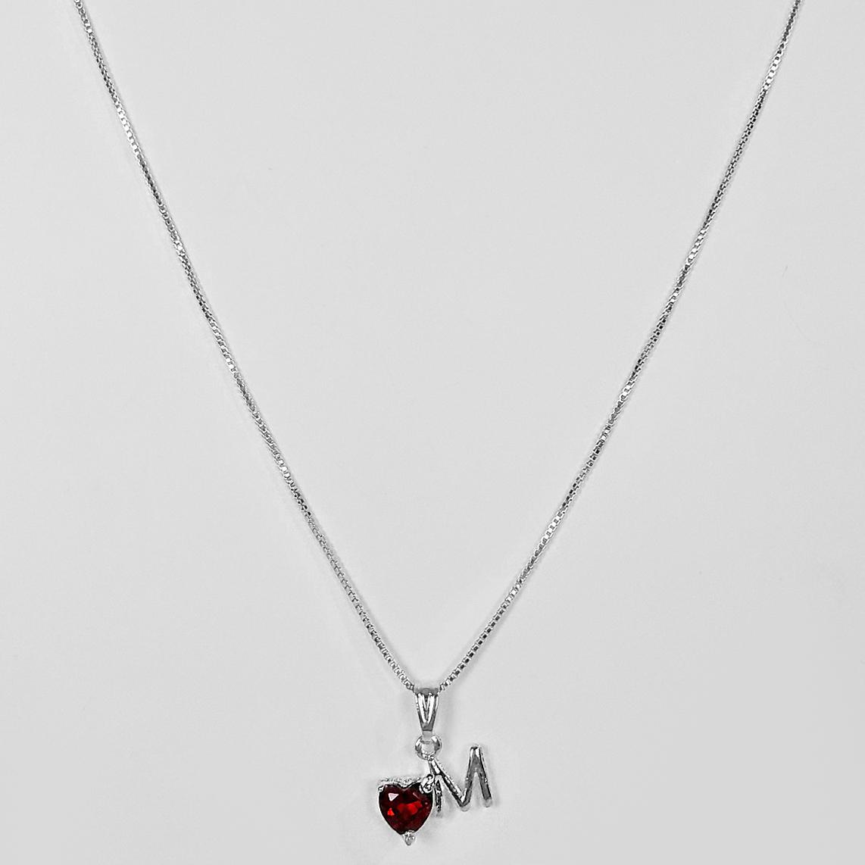 Gargantilha Letra com Coração de Zircônia Folheada a Prata 1000  - Lunozê Joias