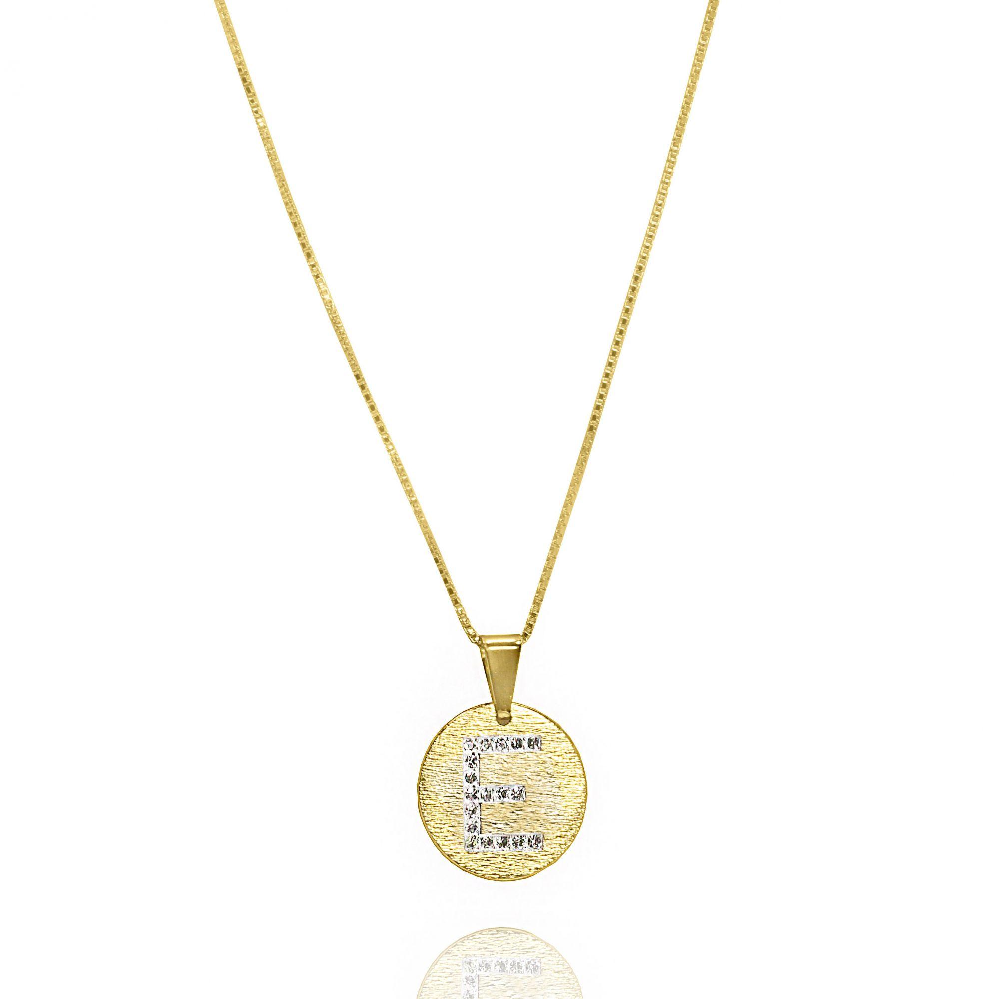 Gargantilha Letras Cravejada Zircônia Folheado Ouro 18k