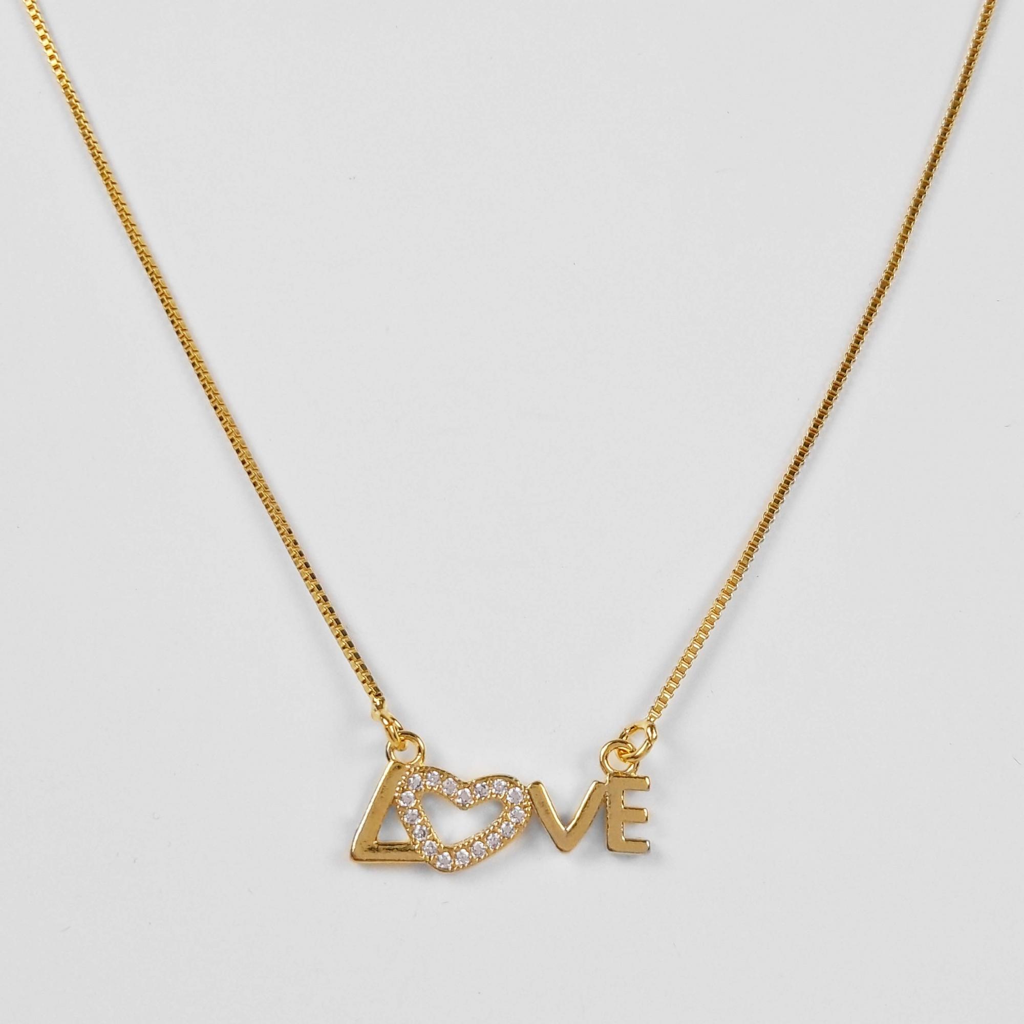 Gargantilha Love Cravejado Folheada Ouro 18K  - Lunozê Joias