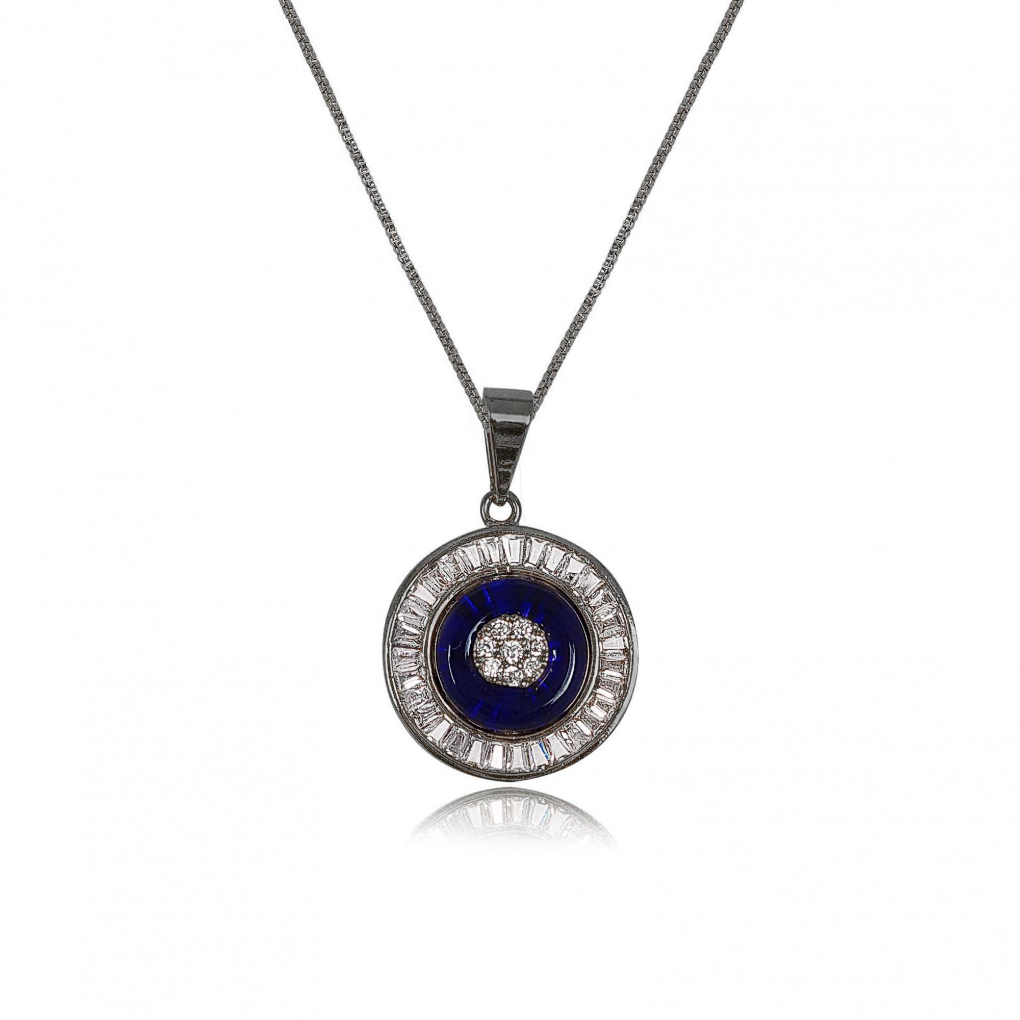 Gargantilha Mandala Azul Cravejado com Zircônia Banho Ródio Negro  - Lunozê Joias