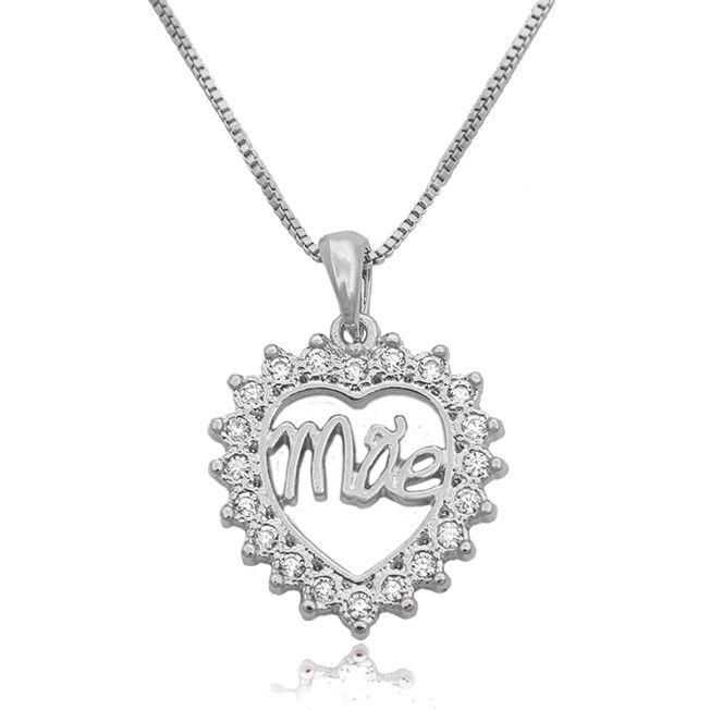 Gargantilha Mandala Coração Mãe Zircônias Folheado a Prata 1000