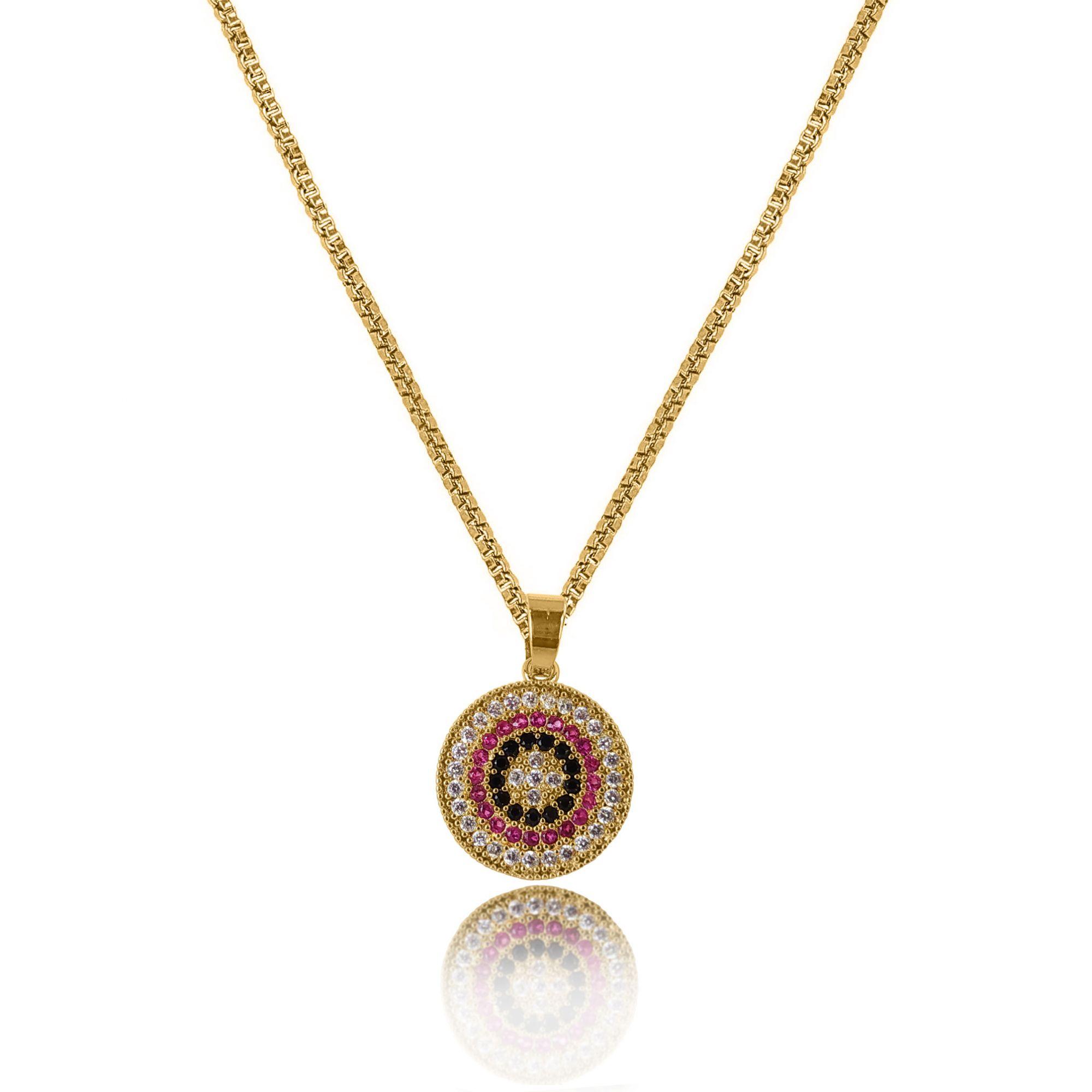 Gargantilha Mandala Cravejada Zircônia Folheado a Ouro 18k