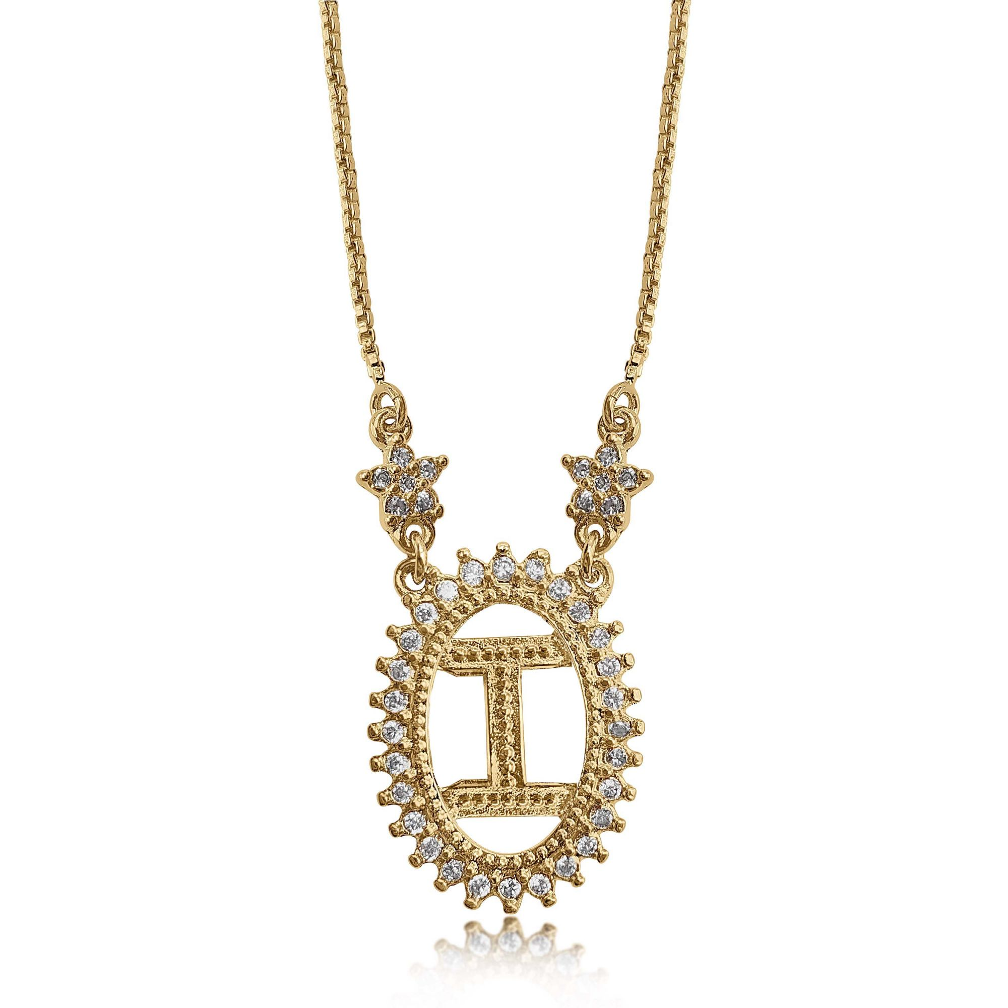 Gargantilha Mandala de Letra com Strass Folheado a Ouro 18k  - Lunozê Joias