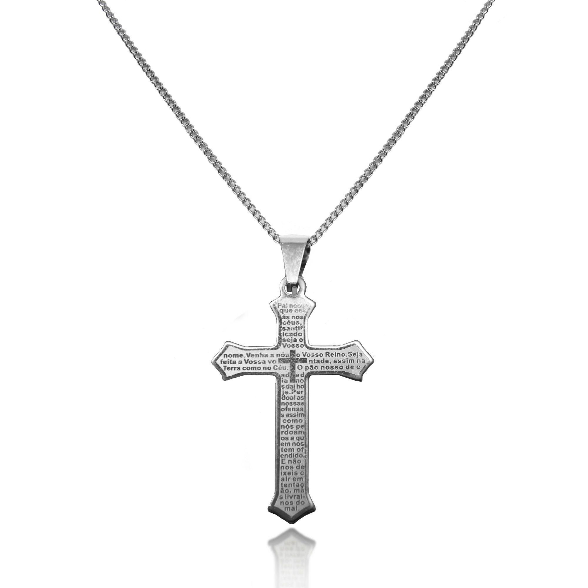 Gargantilha Masculina Crucifixo Aço Inox