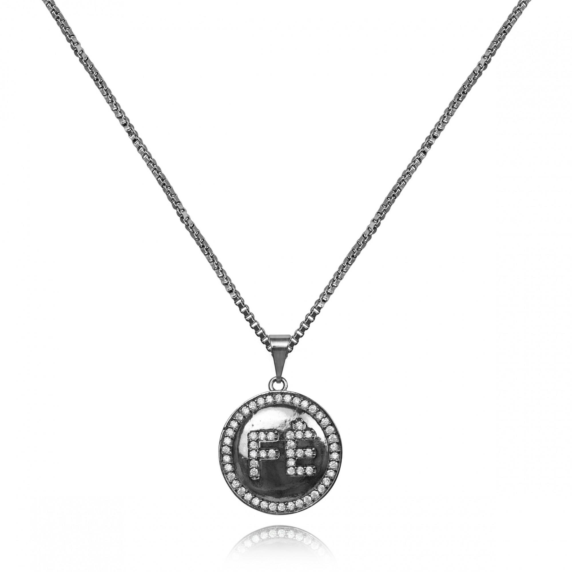 Gargantilha Medalha de Fé com Zircônia Banho Ródio Negro  - Lunozê Joias