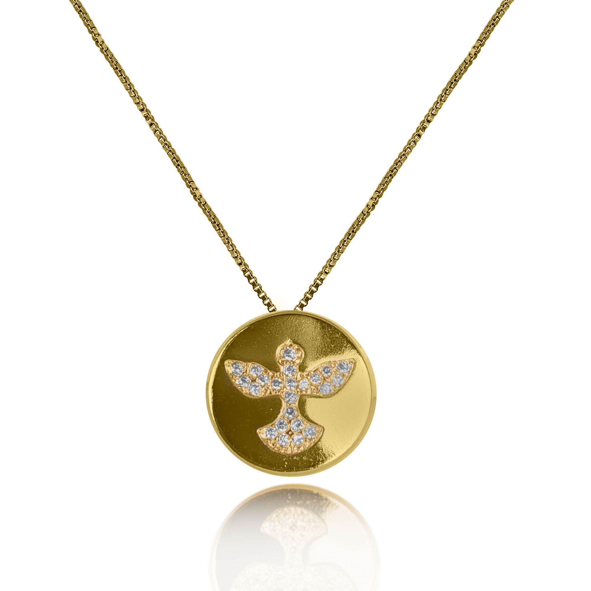 Gargantilha Medalha Espírito Santo Zircônia Folheado a Ouro 18k