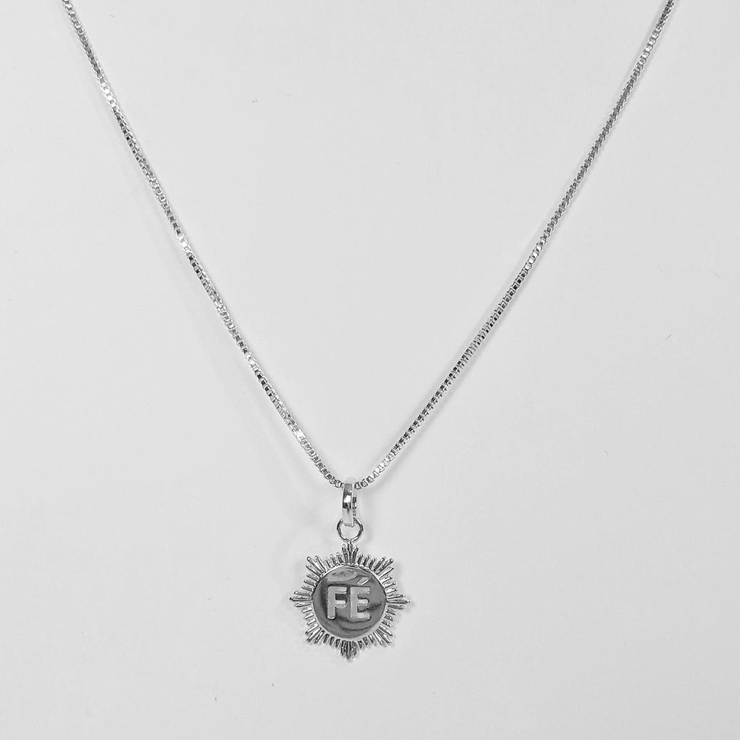 Gargantilha Medalha Fé Folheada a Prata 1000  - Lunozê Joias