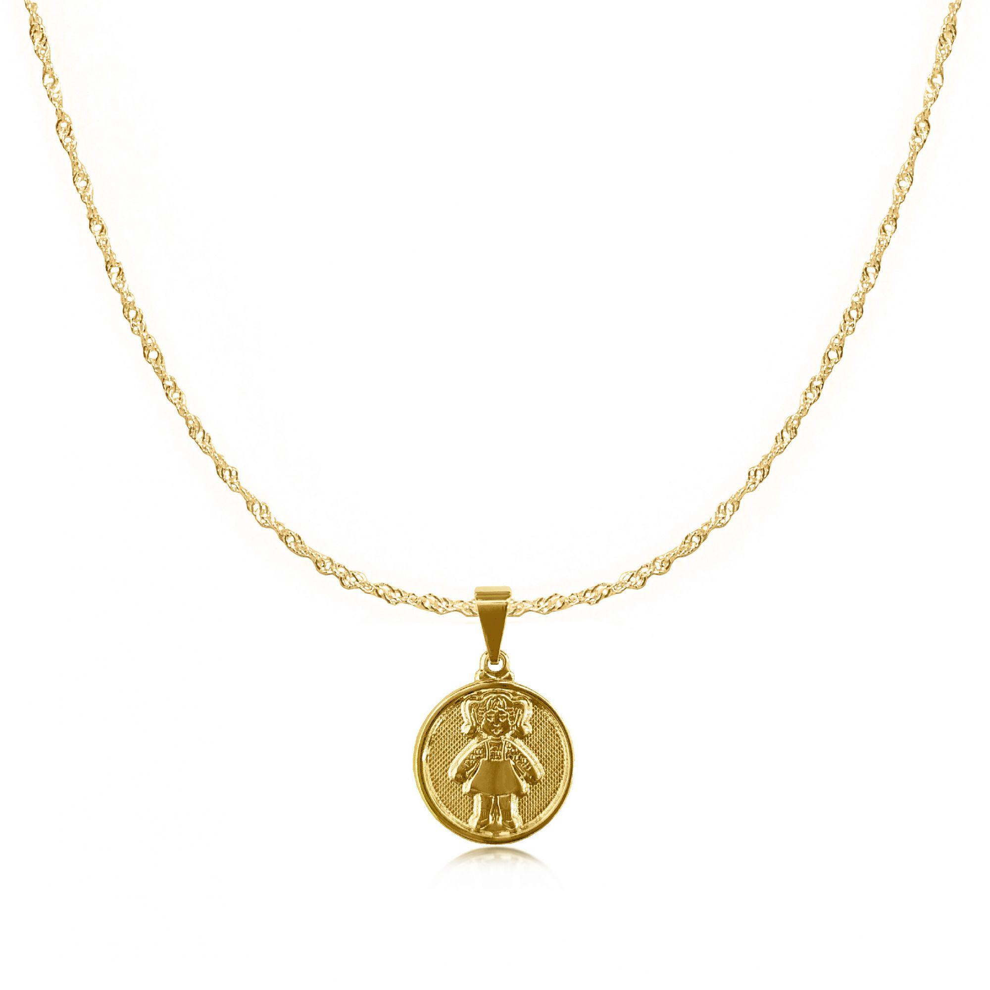 Gargantilha Medalha Menina Folheada a Ouro 18k  - Lunozê Joias
