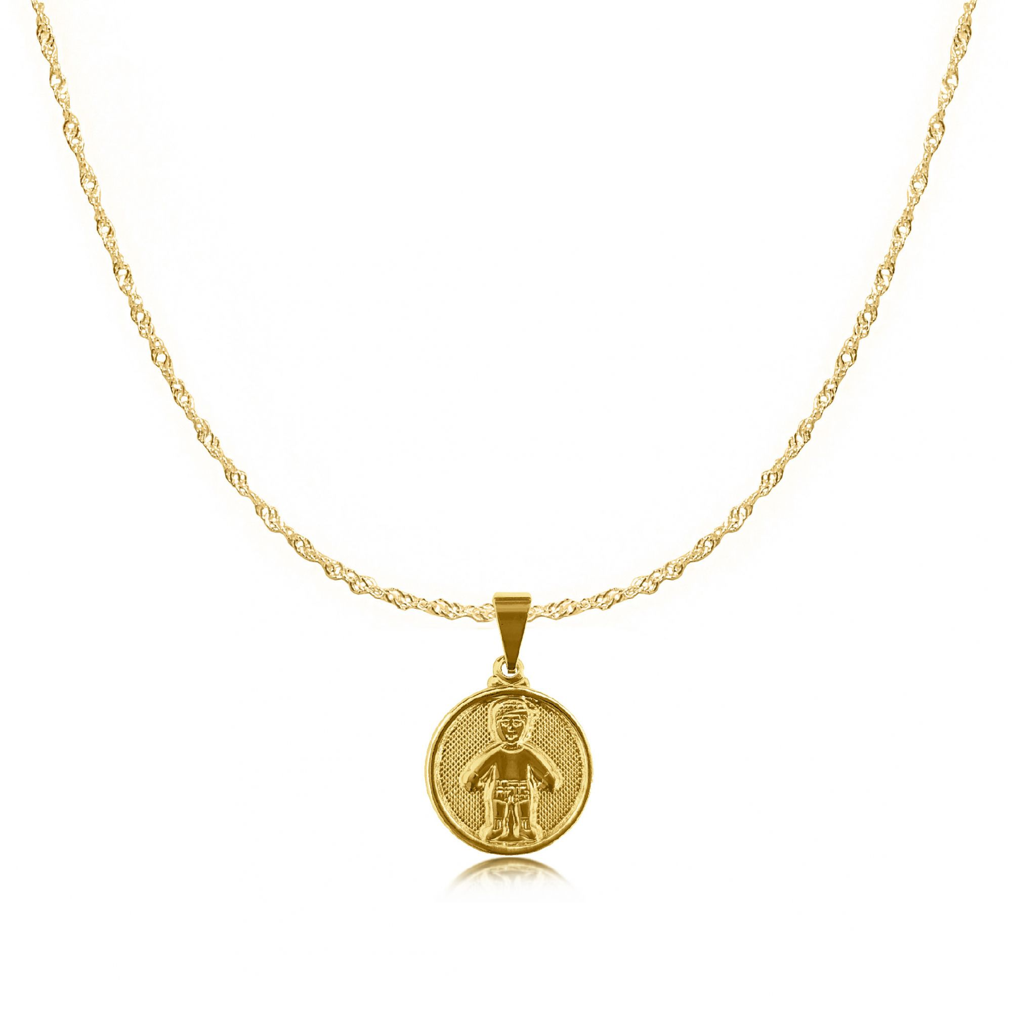 Gargantilha Medalha Menino Folheada a Ouro 18k