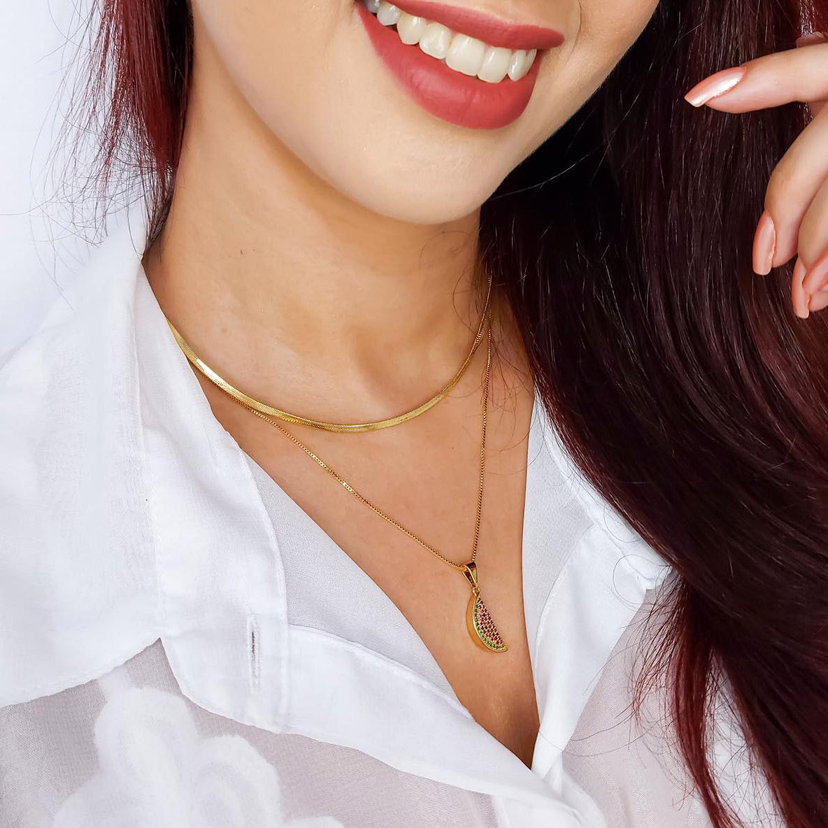 Gargantilha Melancia Cravejada Zircônia Folheada a Ouro 18k  - Lunozê Joias