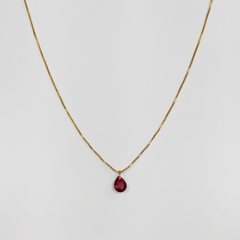Gargantilha Pedra em Formato de Gota Folheado Ouro 18K  - Lunozê Joias