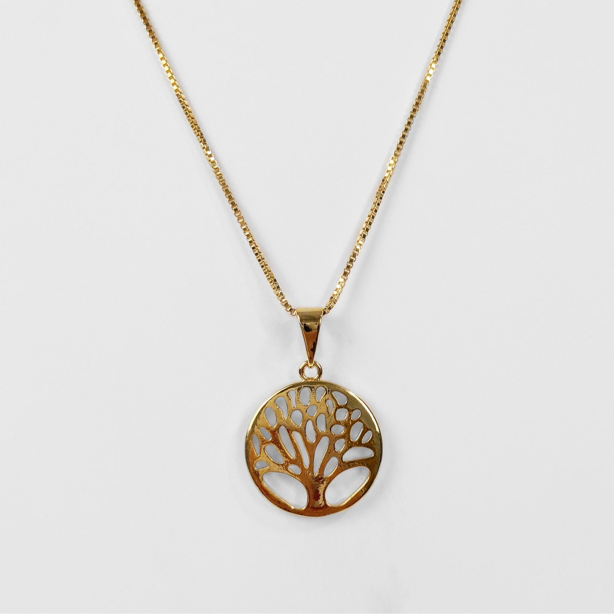 Gargantilha Pingente Árvore da Vida Folheado Ouro 18K  - Lunozê Joias