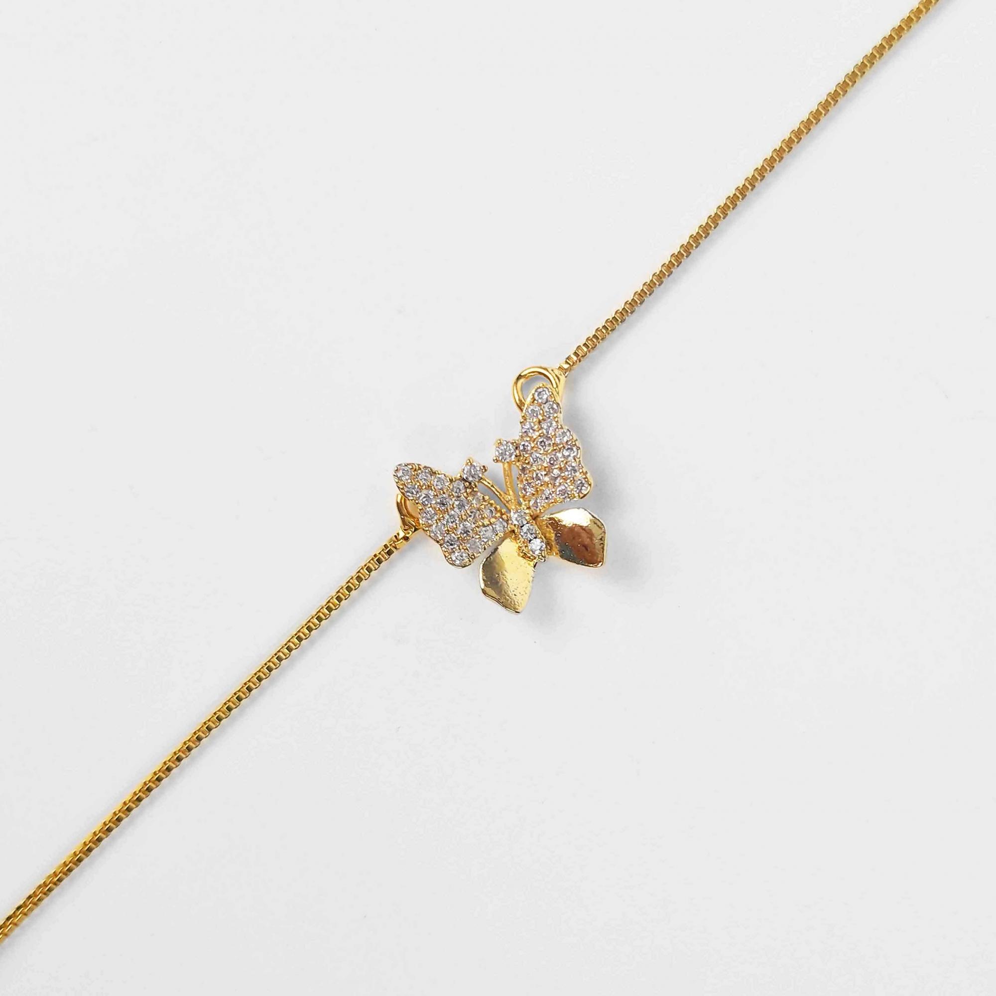 Gargantilha Pingente de Borboleta Zircônias Folheada a Ouro18k  - Lunozê Joias