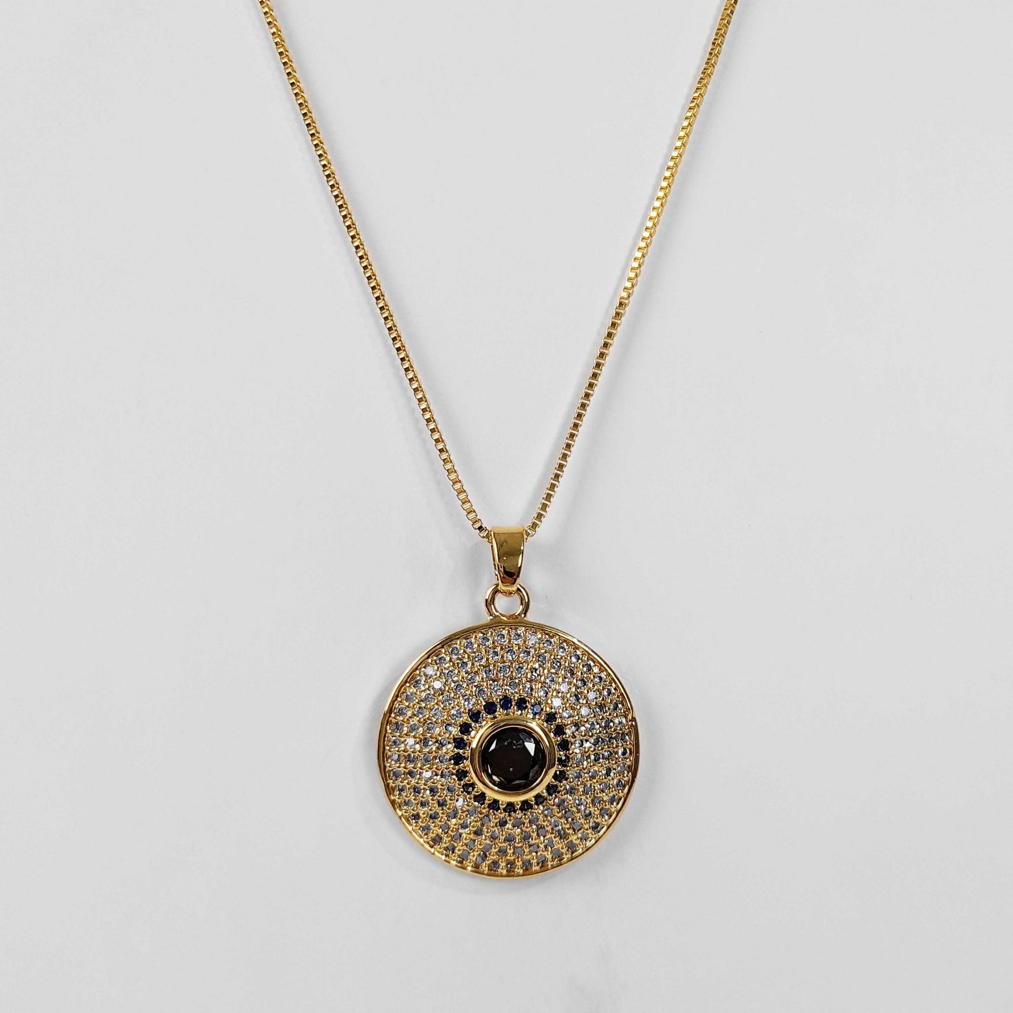 Gargantilha Mandala Cravejada Colorida Folheado Ouro 18K  - Lunozê Joias