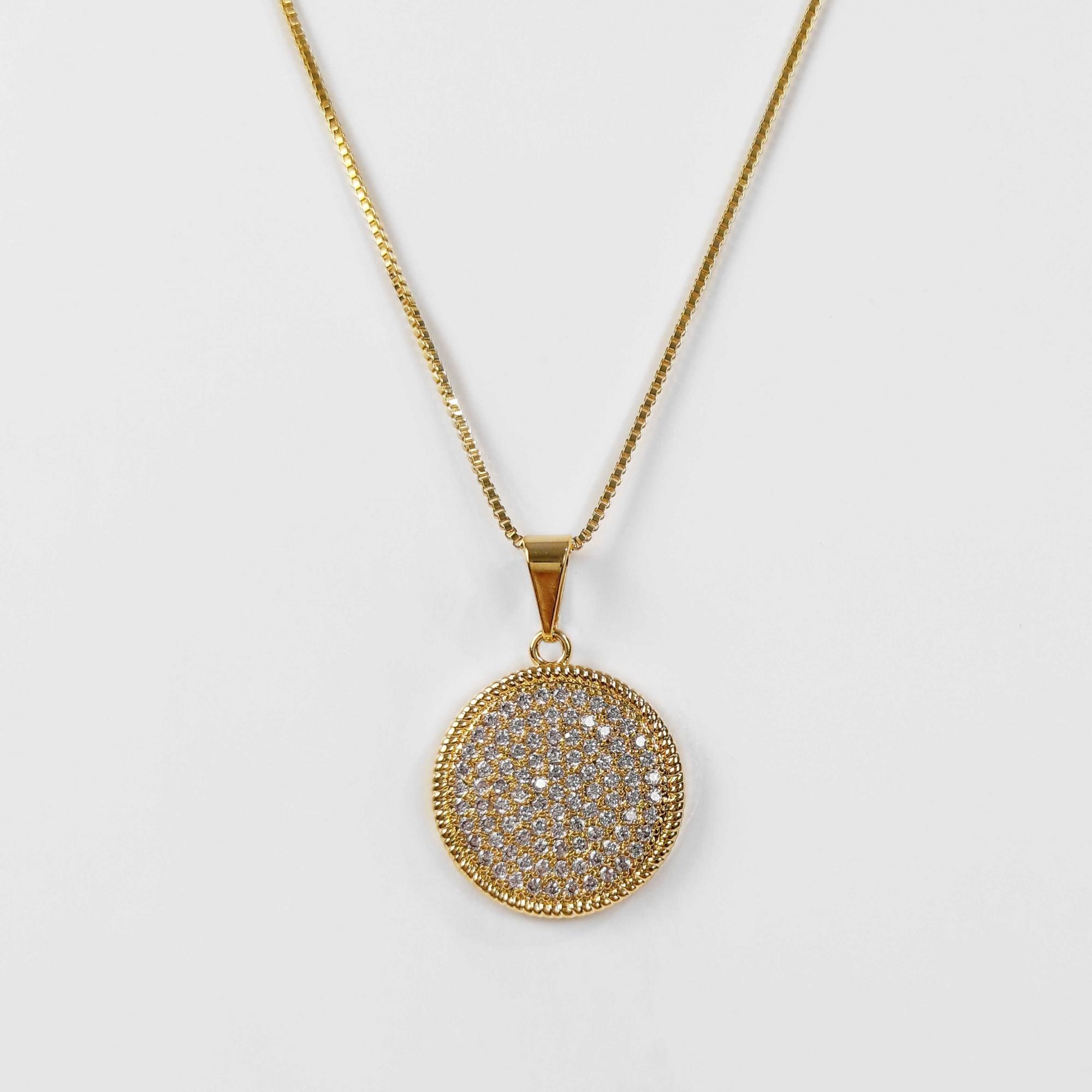 Gargantilha Mandala Cravejada Zircônias Folheado Ouro 18K  - Lunozê Joias