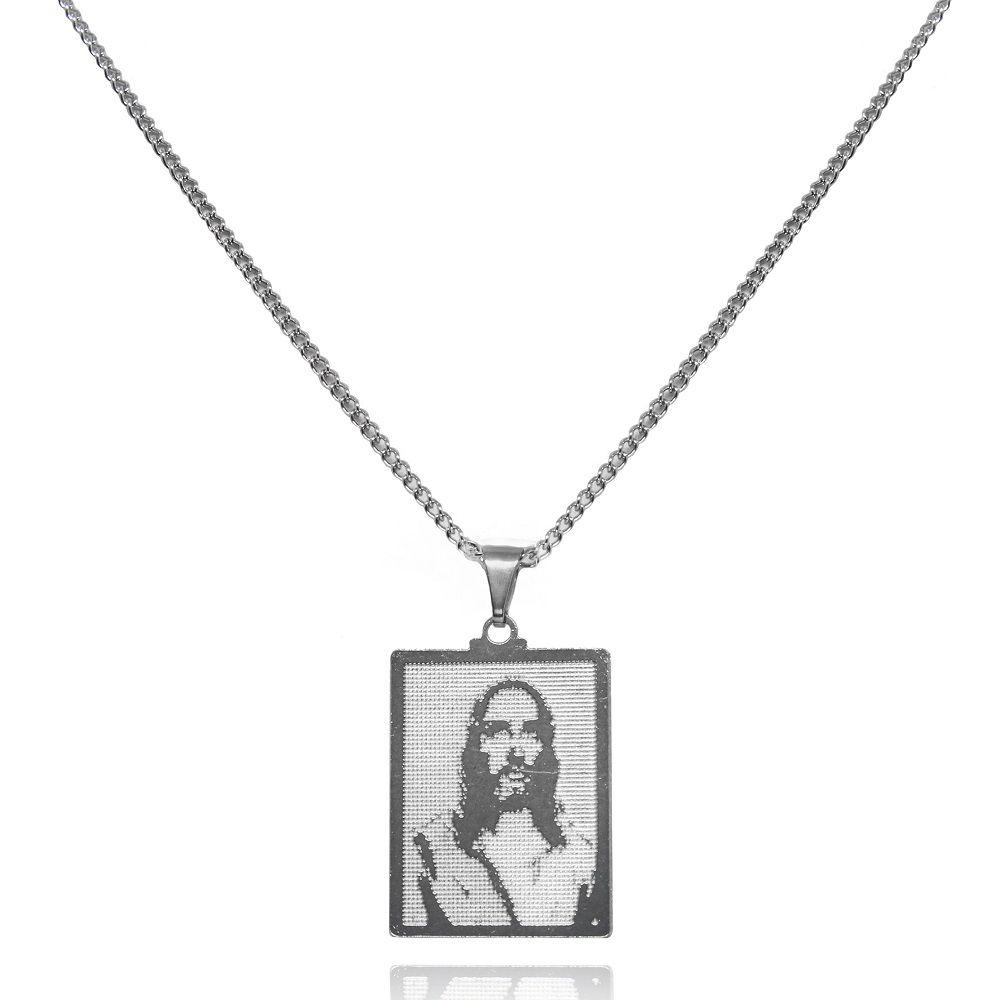 Gargantilha Placa Jesus em Relevo Aço Inox