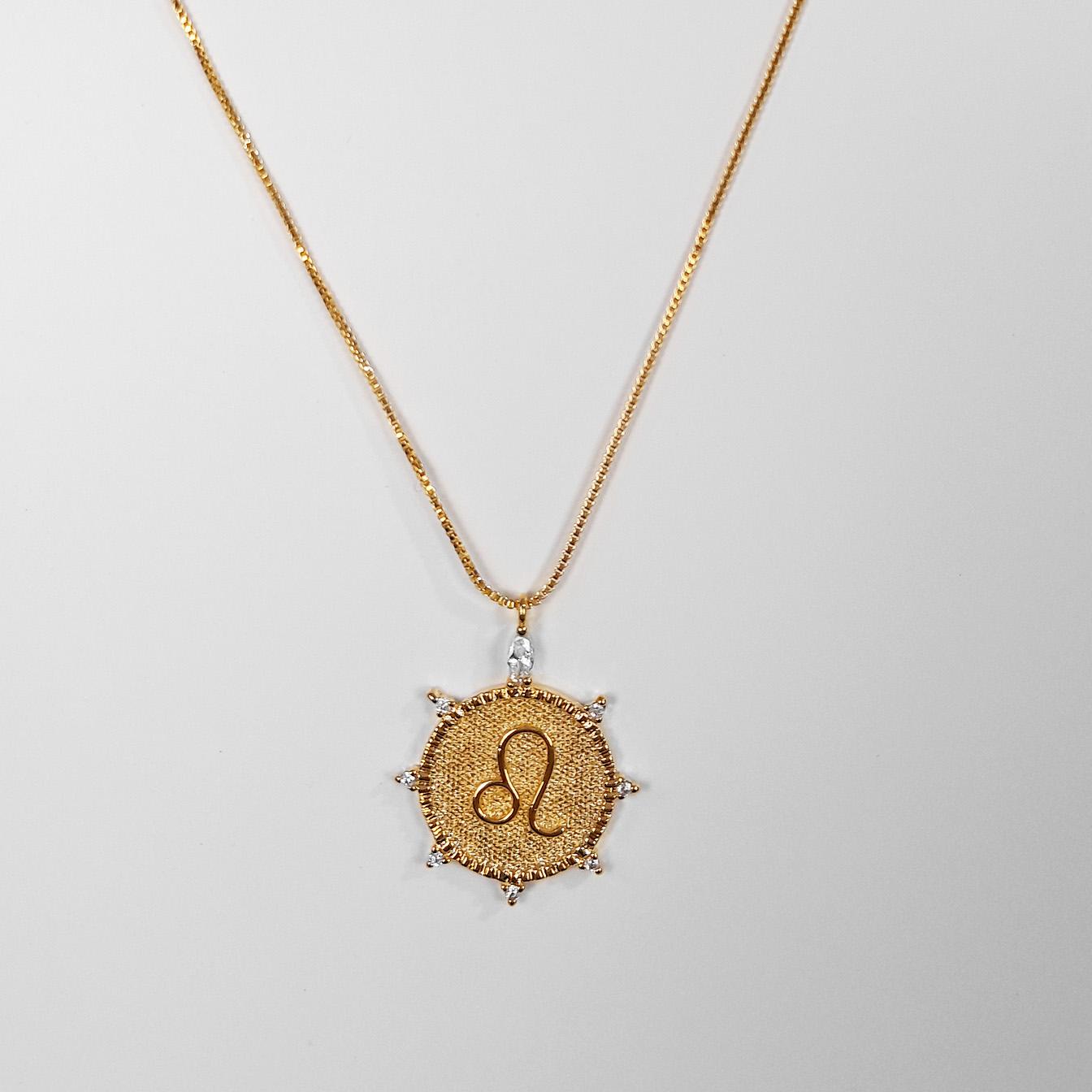 Gargantilha Signo Leão Com Zircônia Folheada Ouro 18K  - Lunozê Joias