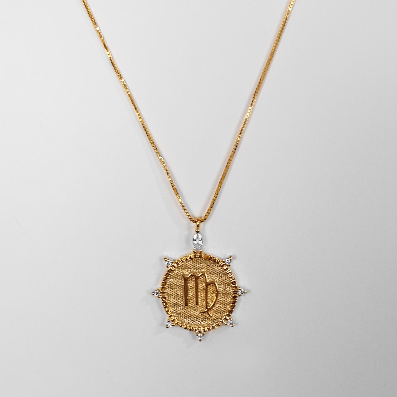 Gargantilha Signo Virgem Com Zircônia Folheada Ouro 18K  - Lunozê Joias