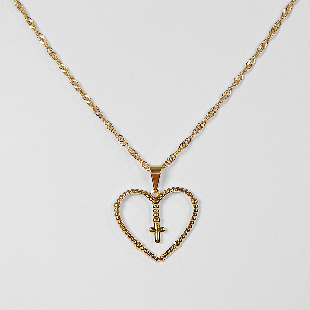 Gargantilha Terço em Formato de Coração Folheado a Ouro 18k  - Lunozê Joias