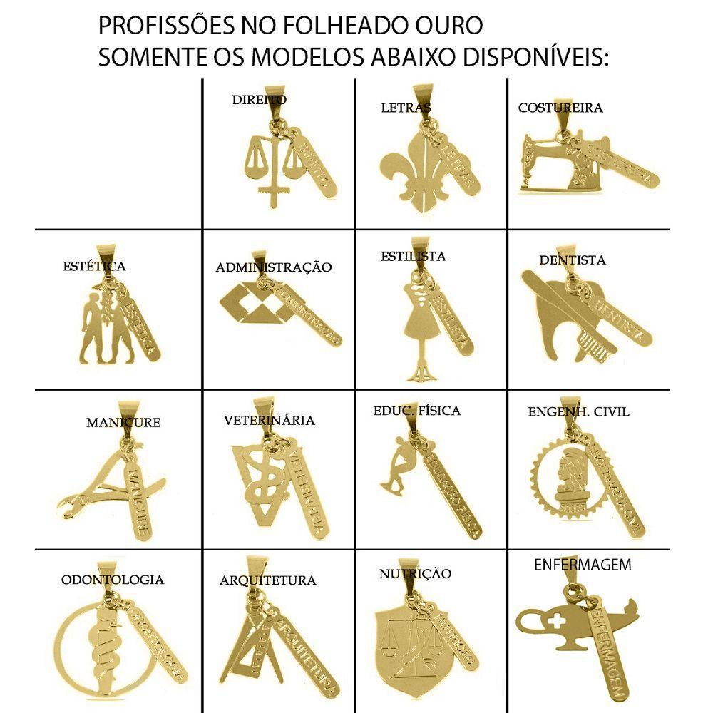 Kit 10 Peças Sendo 5 Pingentes Profissão e 5 Gargantilhas Folheadas